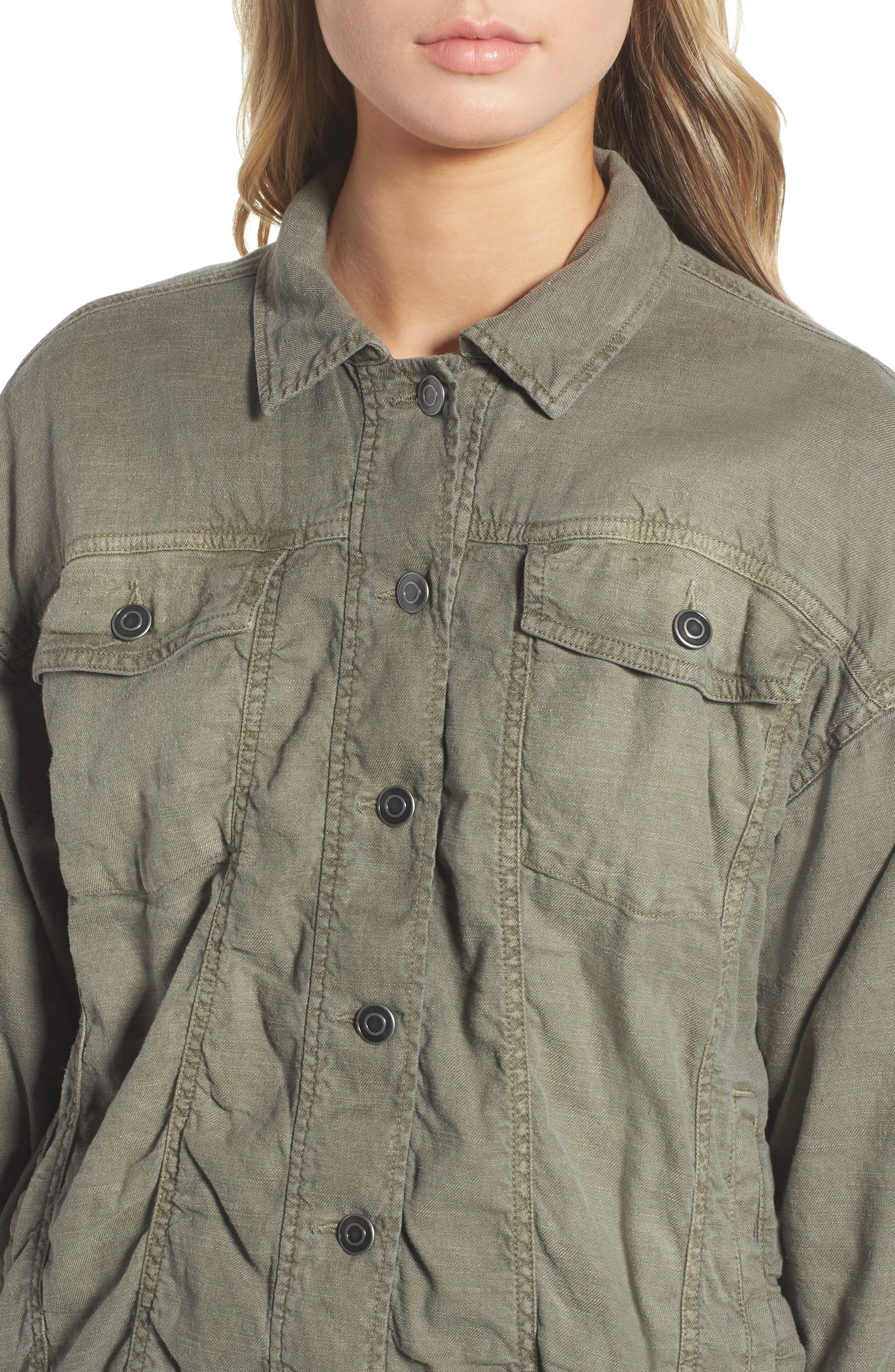 Linen Blend Drape Jacket,                             Alternate thumbnail 7, color,