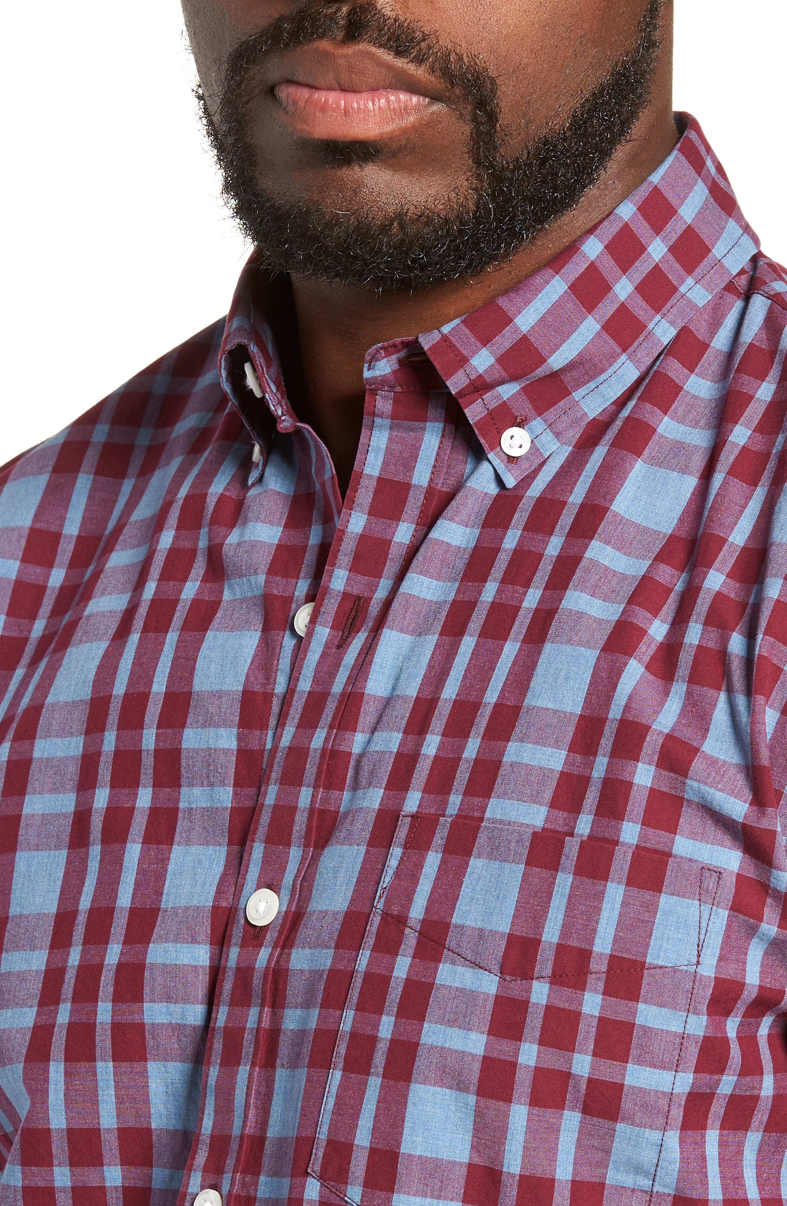 Washed Button Down Slim Fit Plaid Sport Shirt,                             Alternate thumbnail 2, color,                             HARDY PLAID - HEATHER DENIM