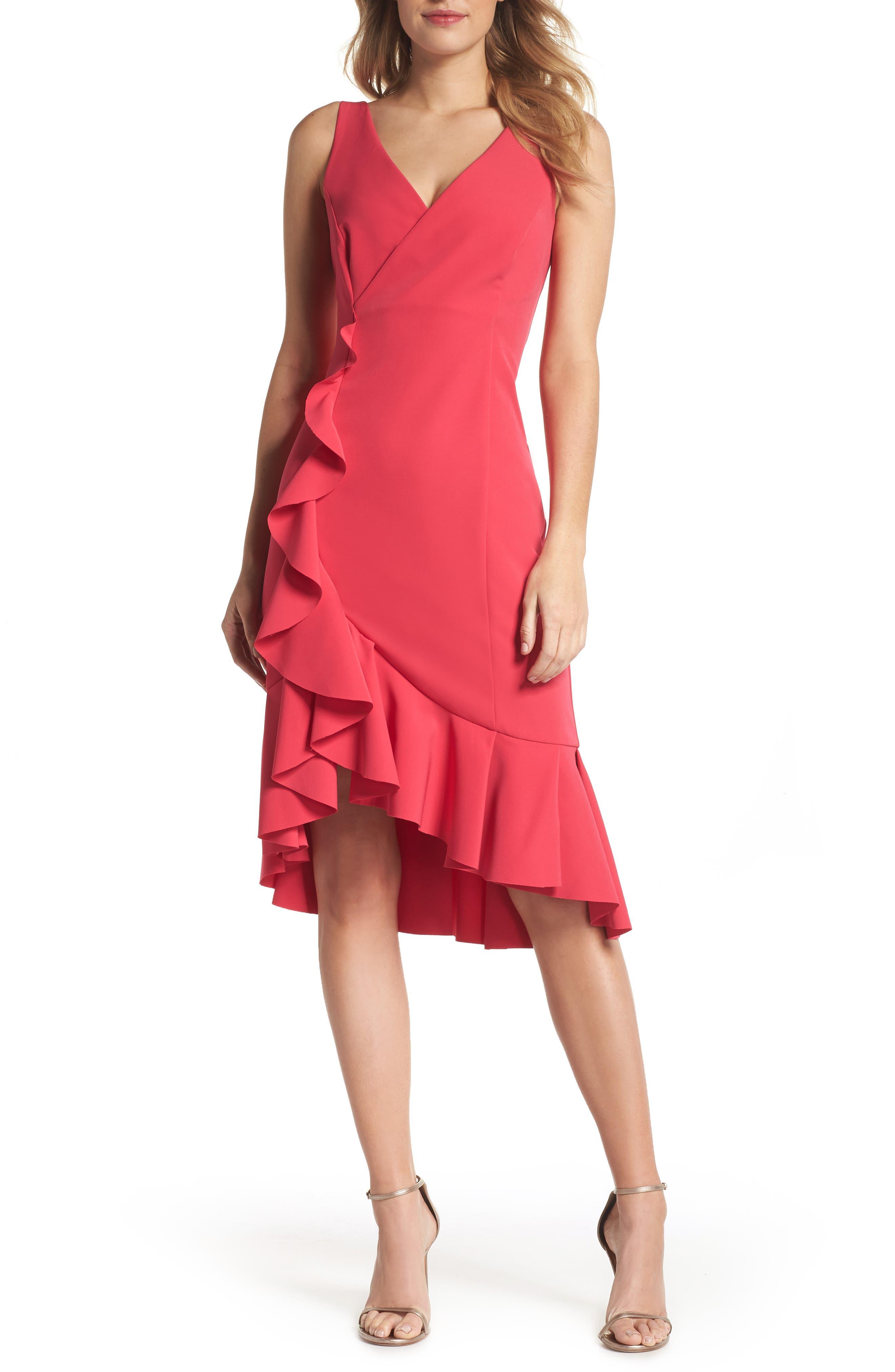 Laguna Ruffle Sheath Dress,                             Alternate thumbnail 6, color,                             660