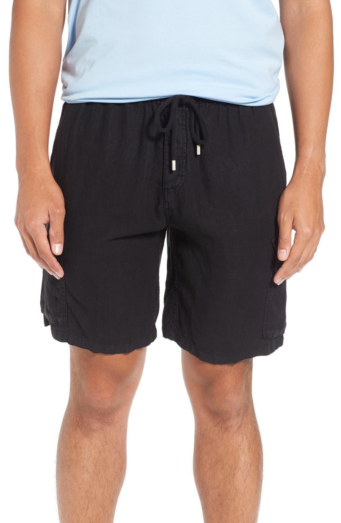 Vilbrequin Linen Cargo Shorts,                             Main thumbnail 1, color,                             001