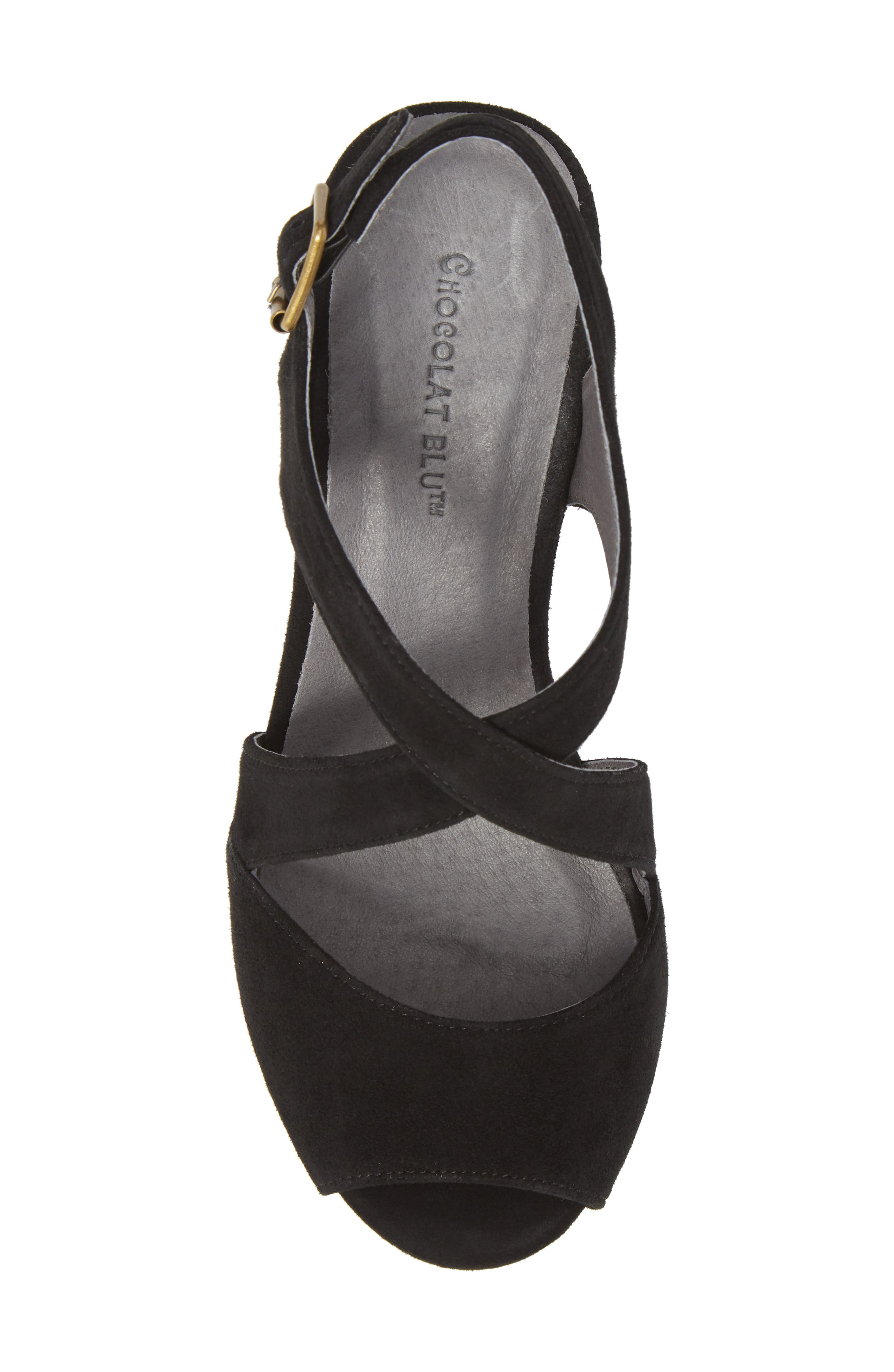 Winnie Wedge Sandal,                             Alternate thumbnail 5, color,                             BLACK SUEDE