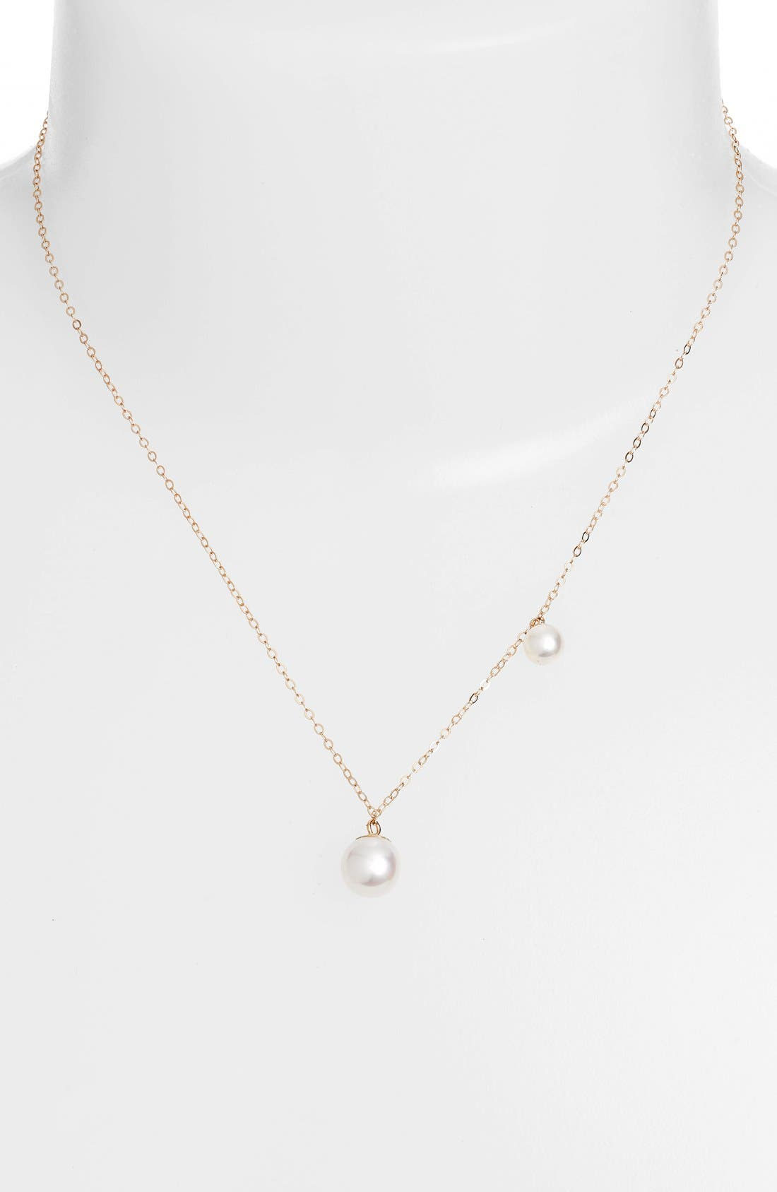 Double Pearl Pendant Necklace,                             Alternate thumbnail 2, color,                             YELLOW GOLD/ PEARL