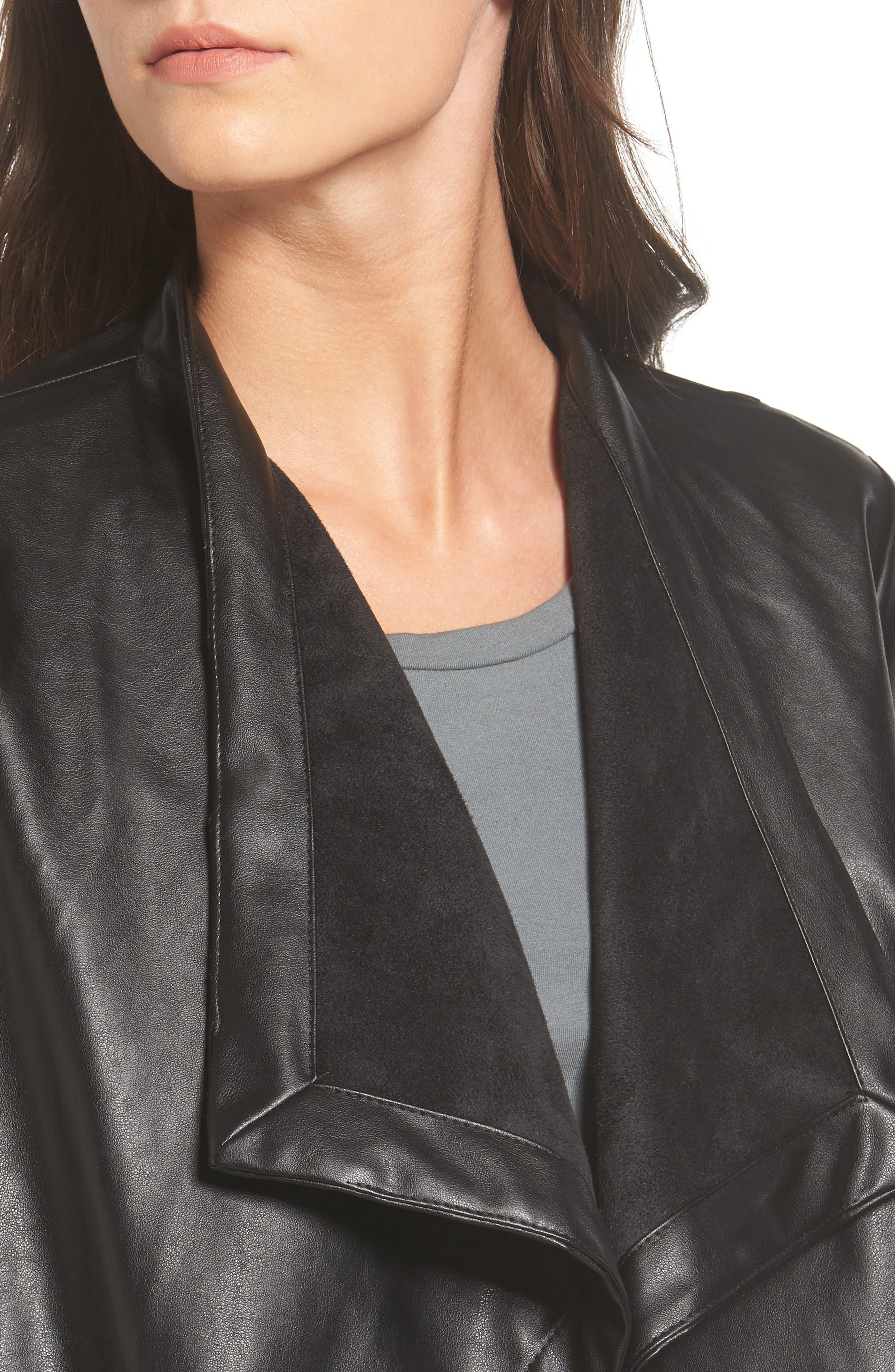 'Peppin' Drape Front Faux Leather Jacket,                             Alternate thumbnail 30, color,