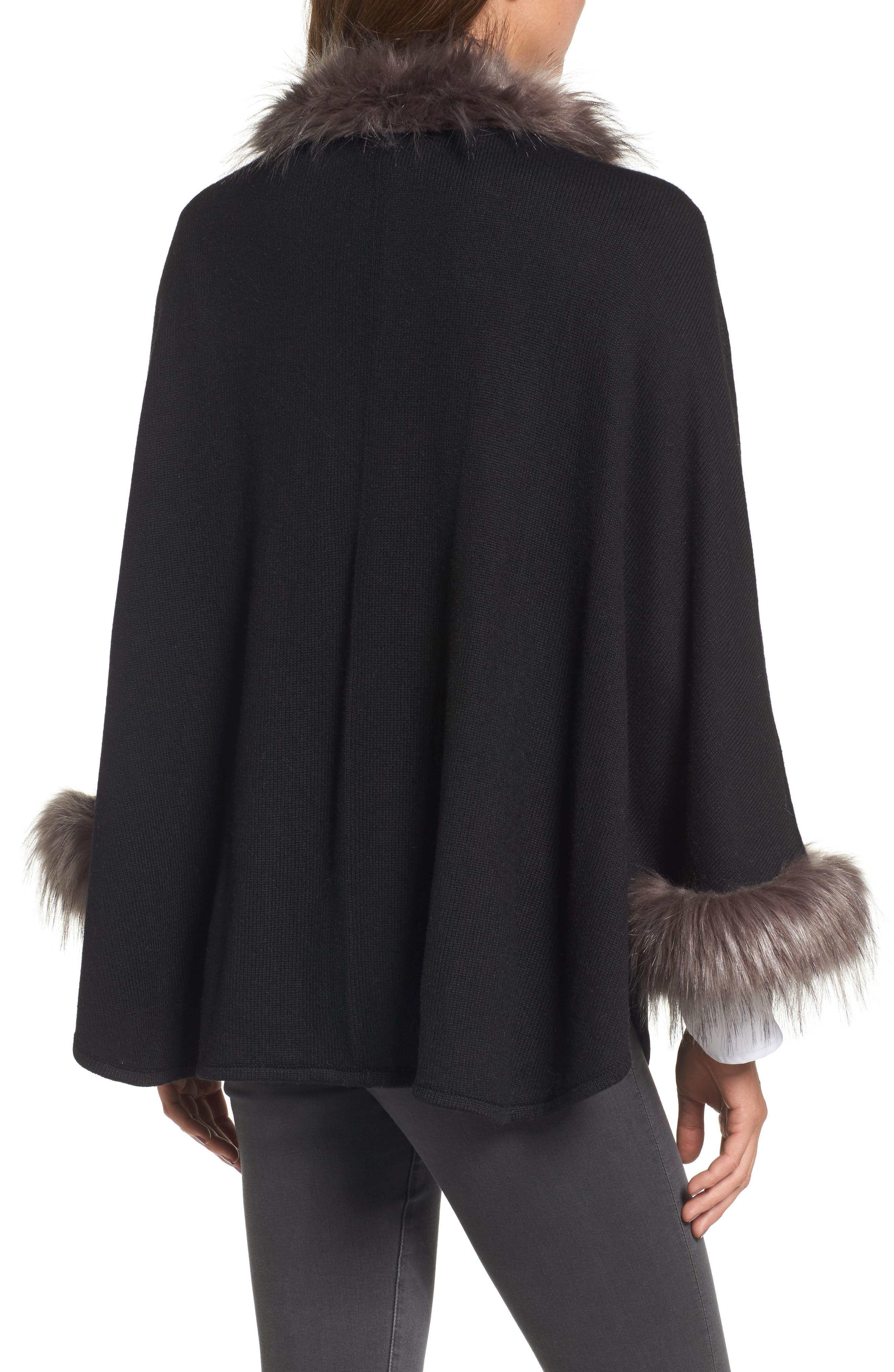 Knit Poncho with Faux Fur Trim,                             Alternate thumbnail 2, color,                             001
