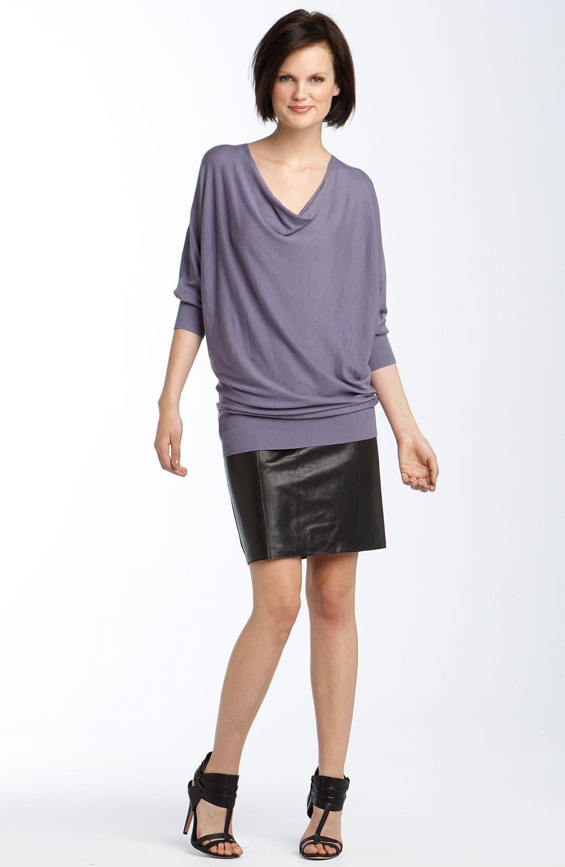 Lambskin Leather Pencil Skirt,                             Alternate thumbnail 2, color,                             001