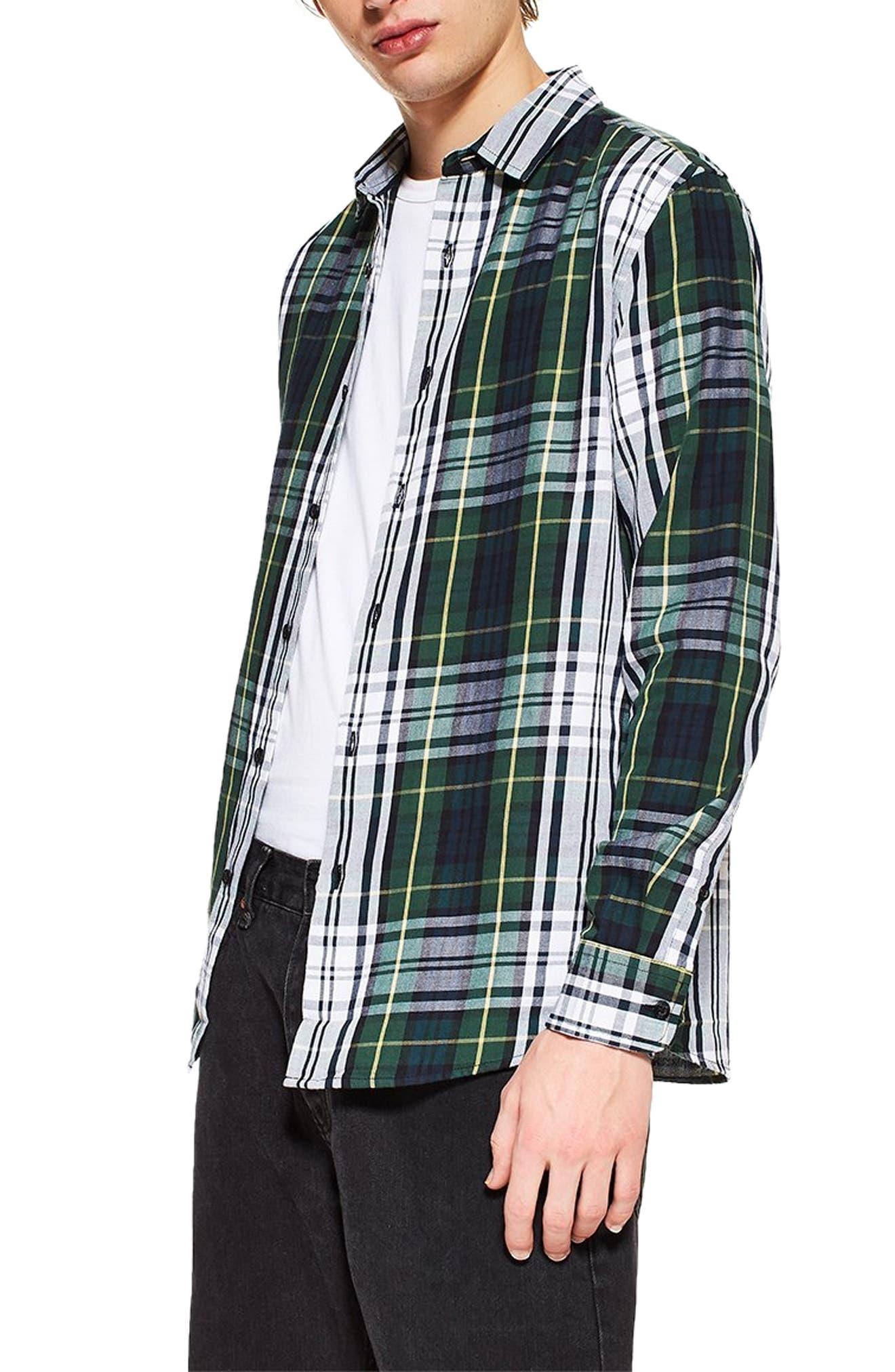 Topman Tartan Slim Fit Sport Shirt, Green
