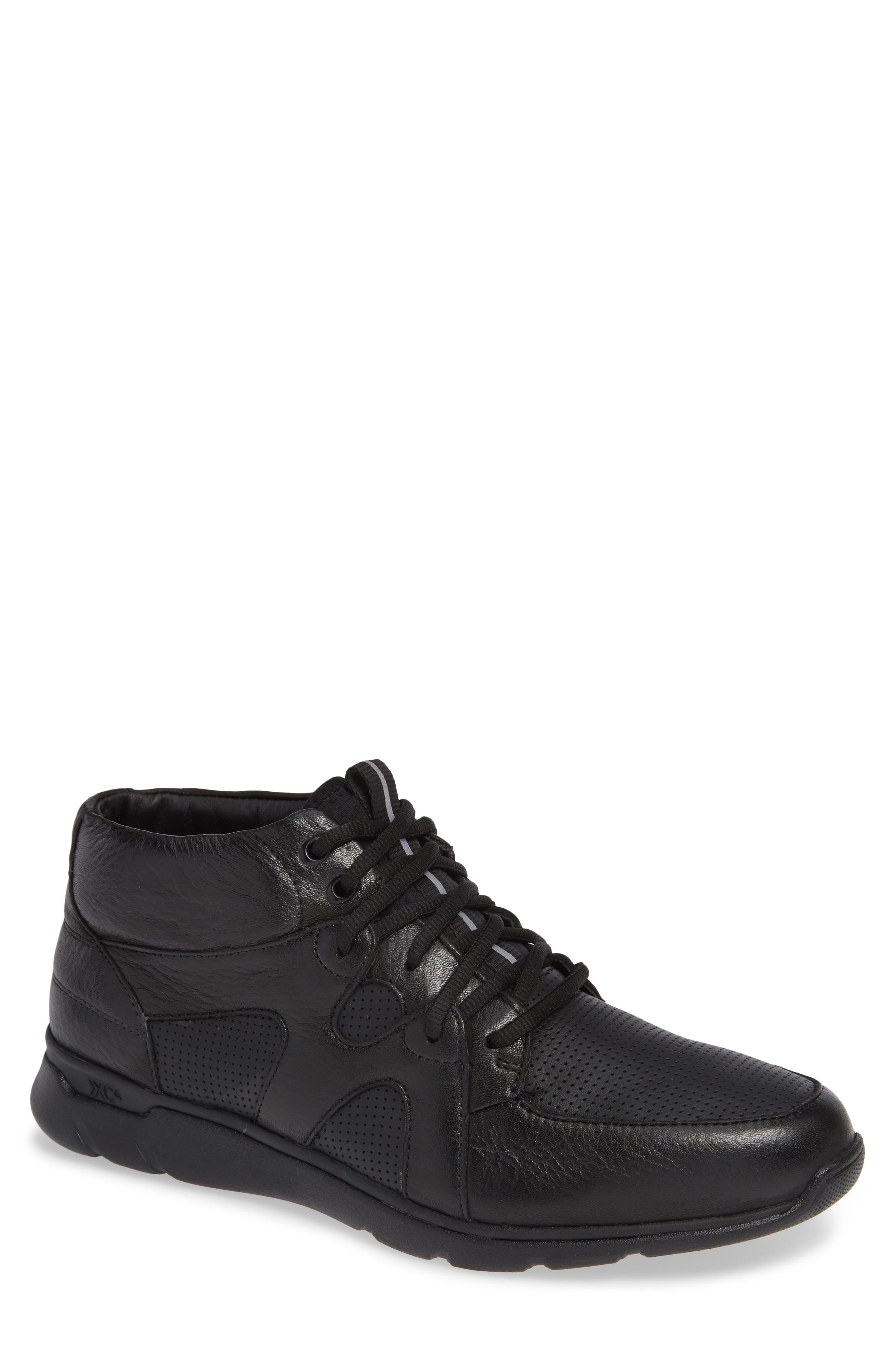 Prentiss Waterproof Sneaker,                         Main,                         color, BLACK LEATHER