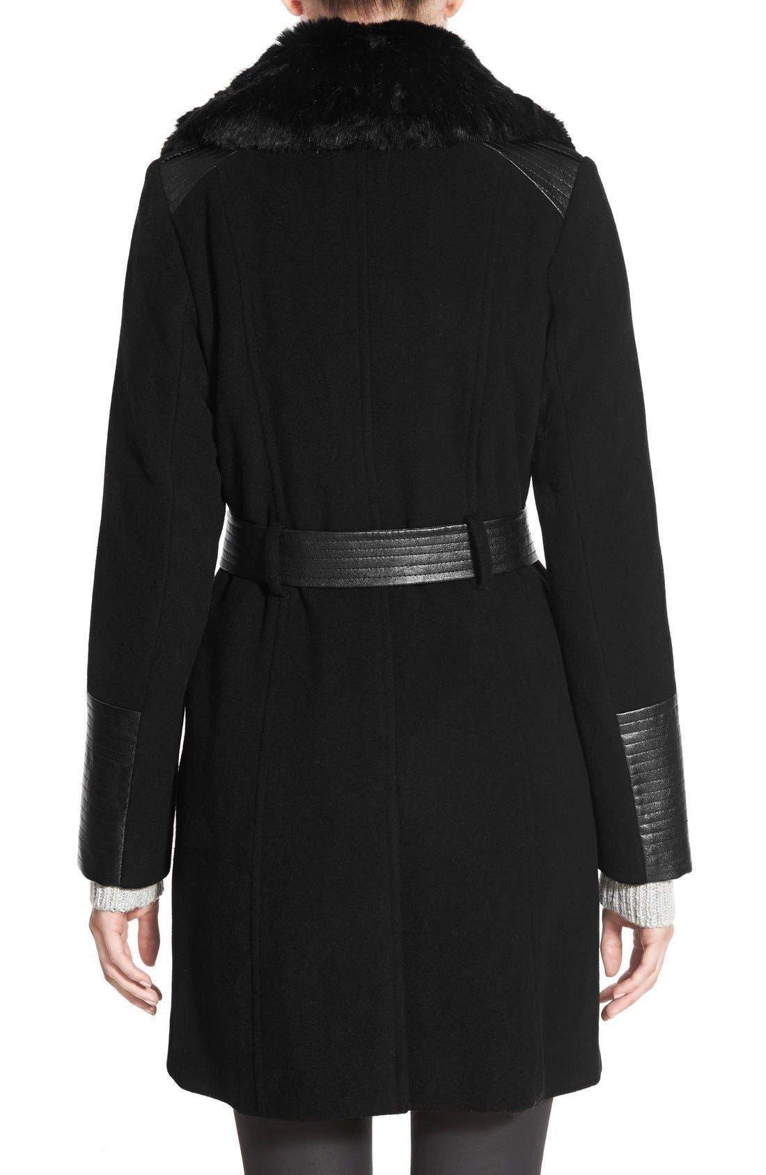 Faux Leather & Faux Fur Trim Belted Wool Blend Coat,                             Alternate thumbnail 43, color,