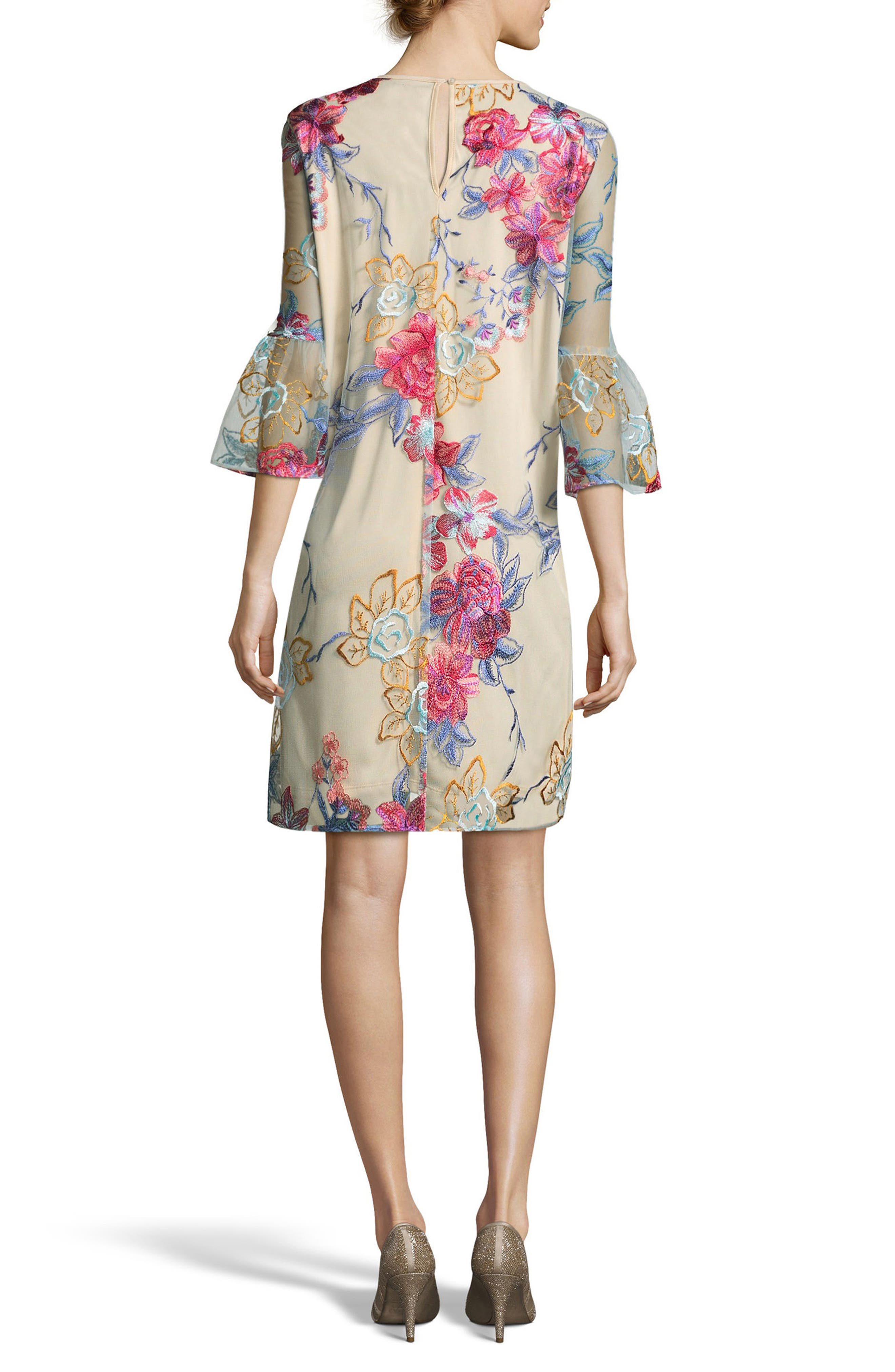 Floral Embroidered A-Line Dress,                             Alternate thumbnail 2, color,                             420