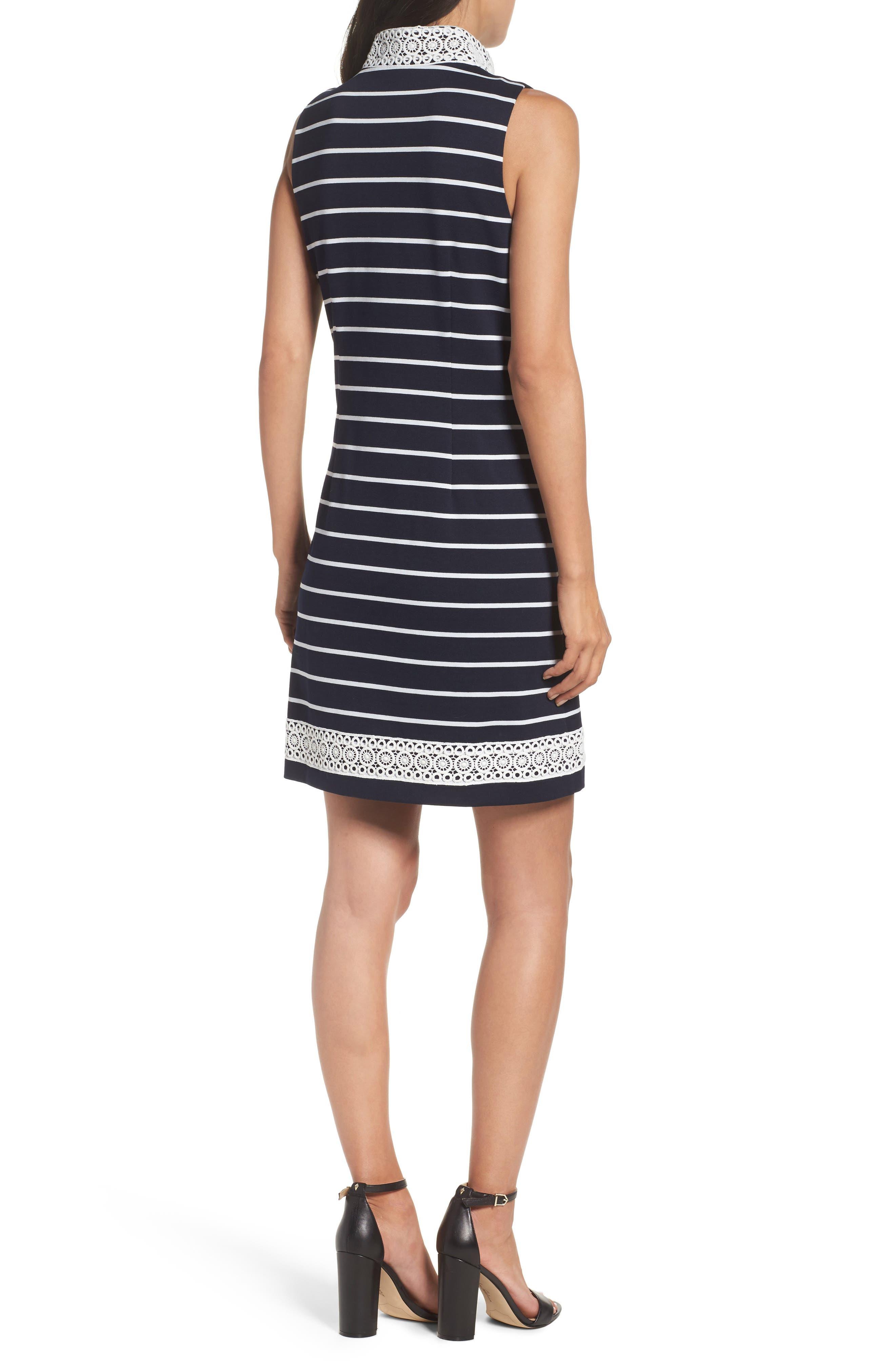 Mandarin Collar Stripe Shift Dress,                             Alternate thumbnail 2, color,                             407