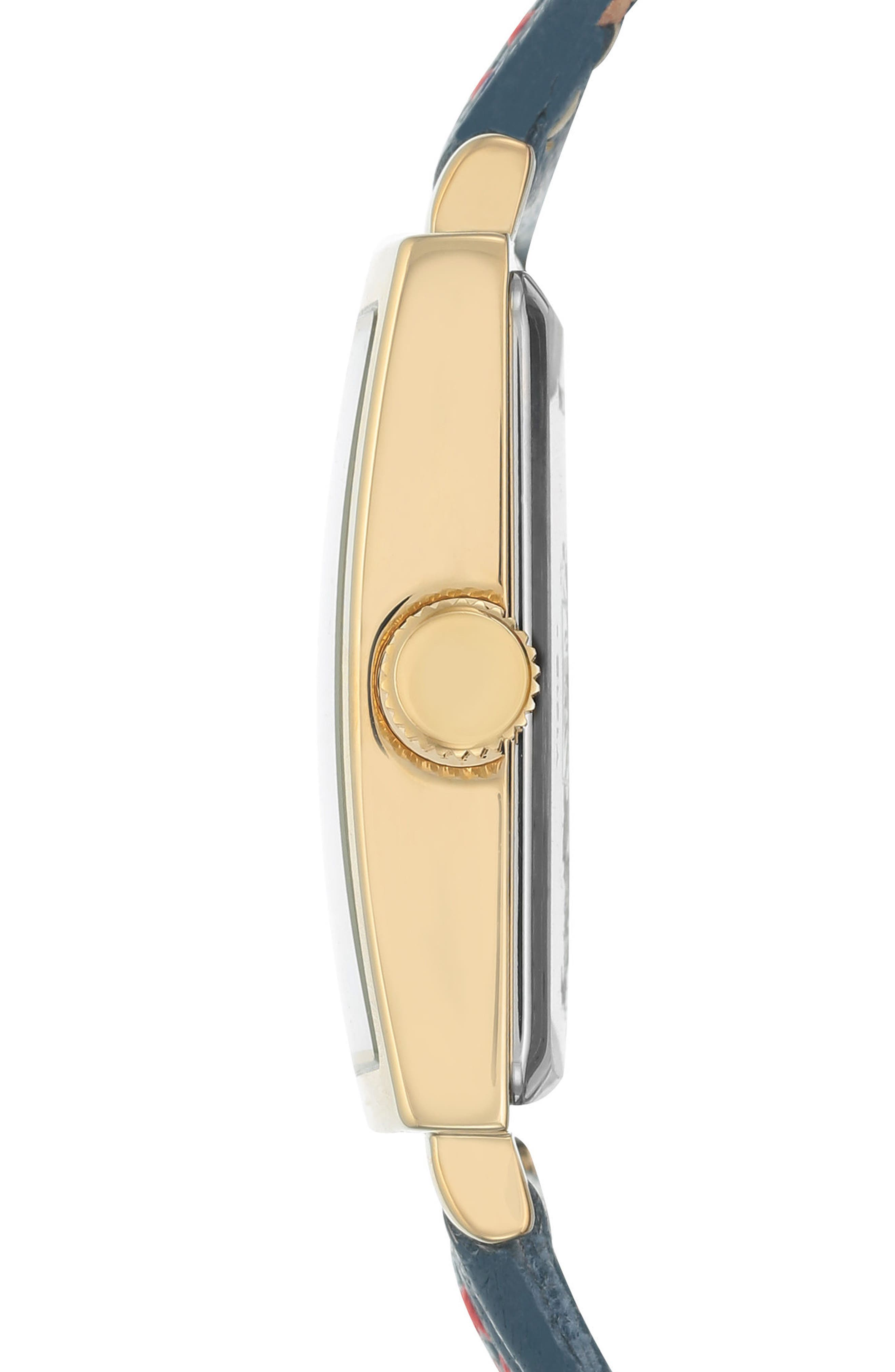 Square Leather Strap Watch, 42mm x 34mm,                             Alternate thumbnail 8, color,