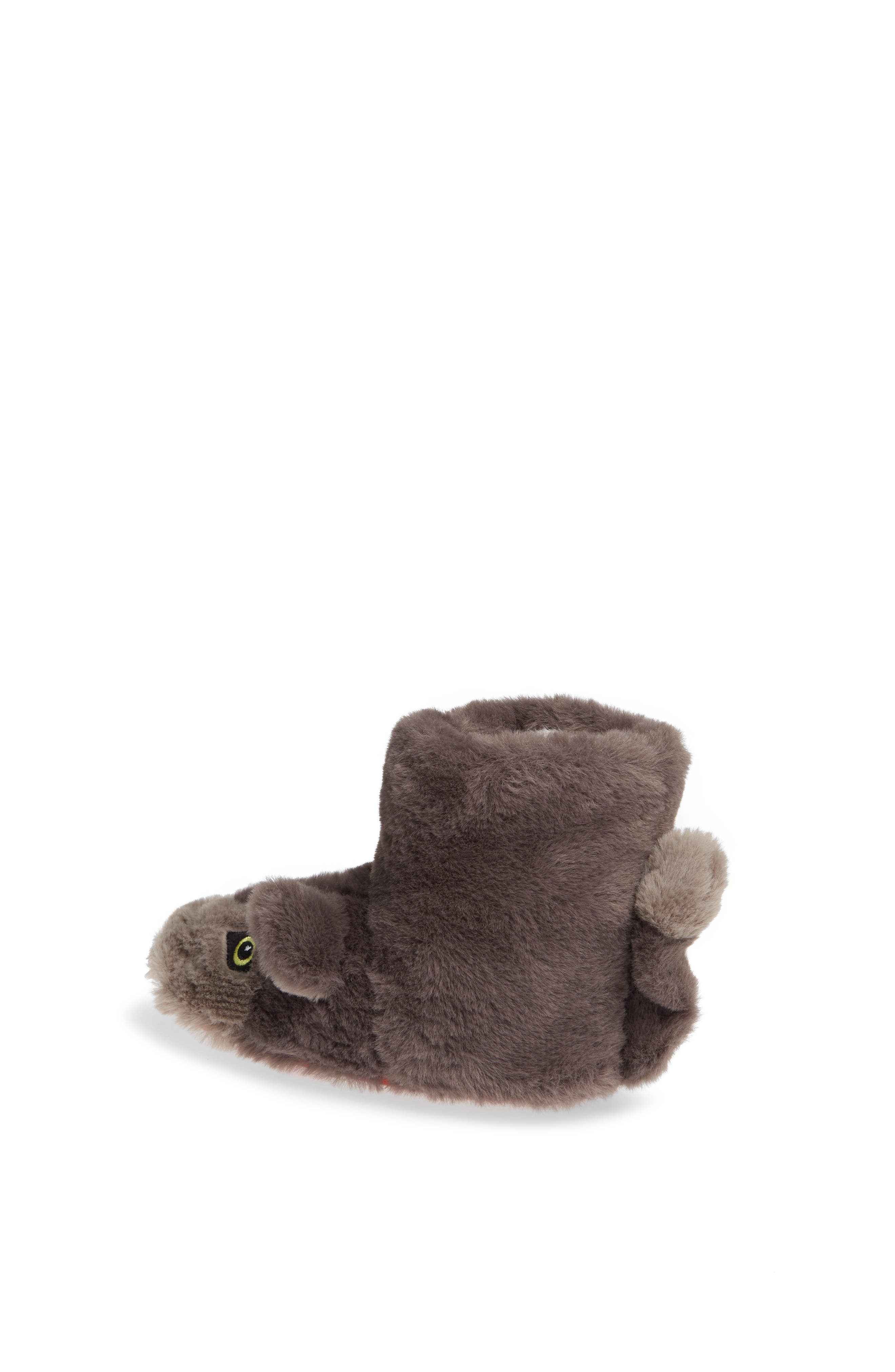 Mini Boden Wolf Faux Fur Slipper Booties,                             Alternate thumbnail 2, color,                             MID GREY