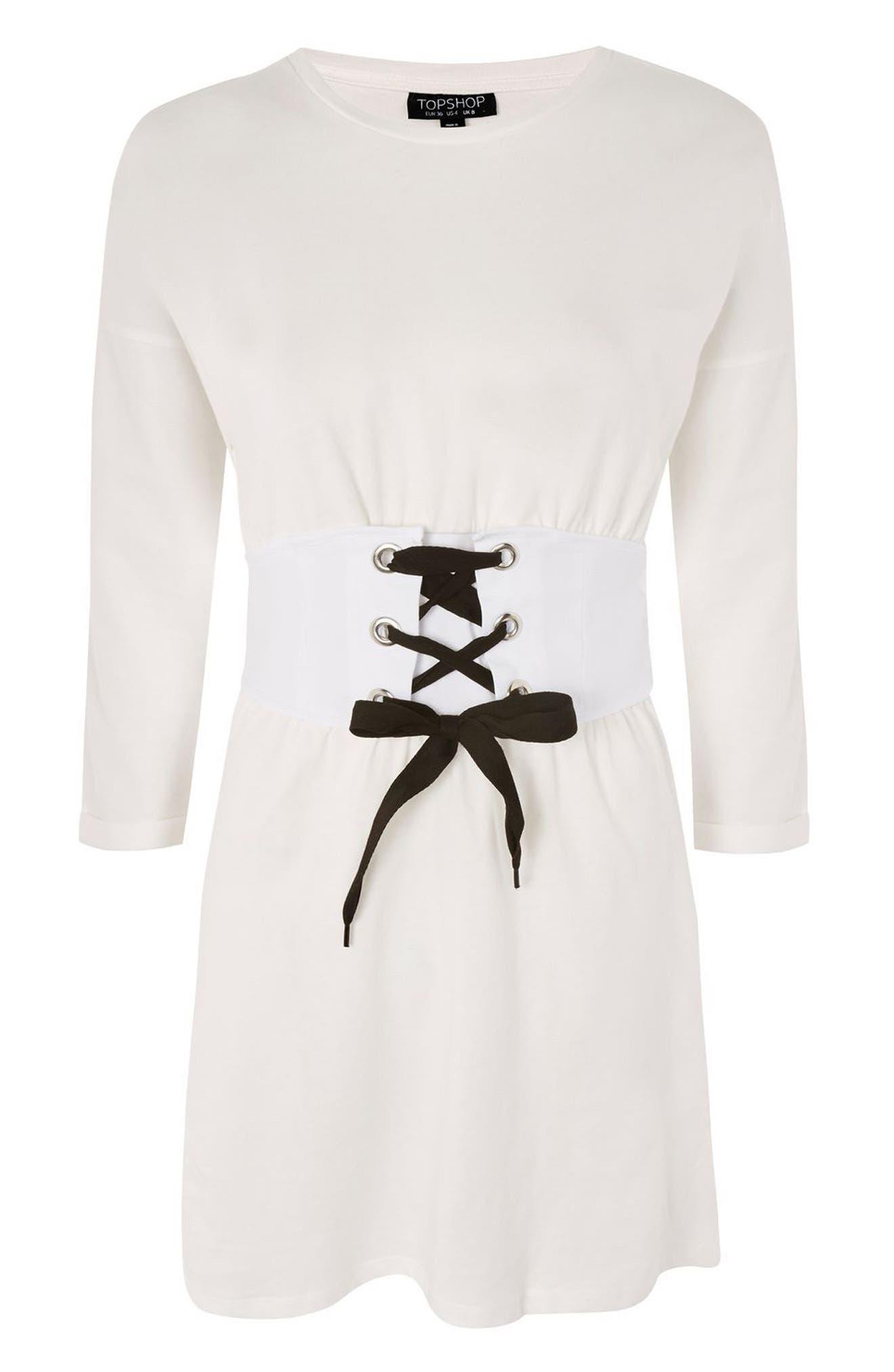 Corset T-Shirt Dress,                             Alternate thumbnail 4, color,                             900