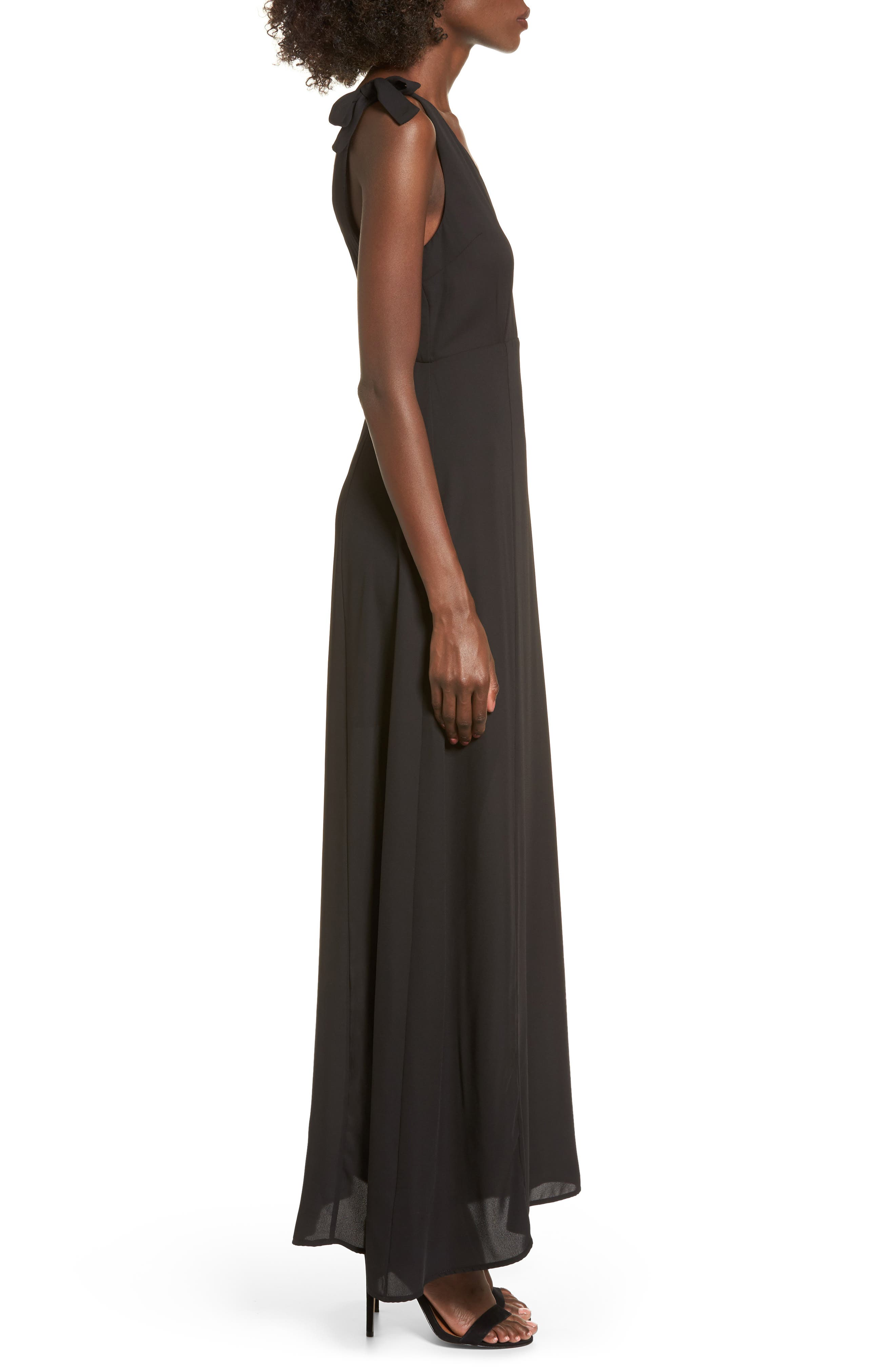 Tie Strap Maxi Dress,                             Alternate thumbnail 3, color,                             001