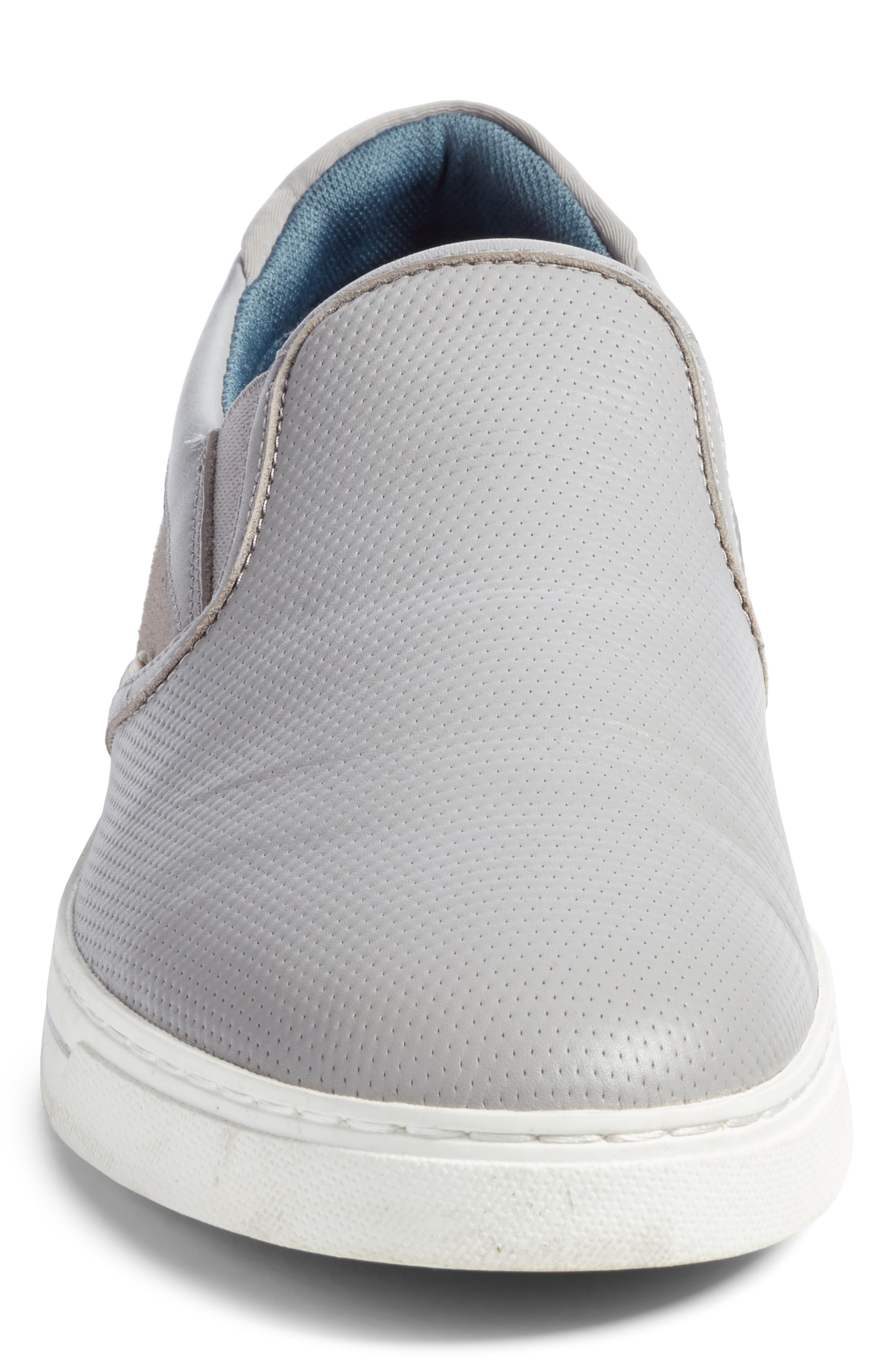 Patroy Perforated Slip-On Sneaker,                             Alternate thumbnail 4, color,                             LIGHT GREY LEATHER