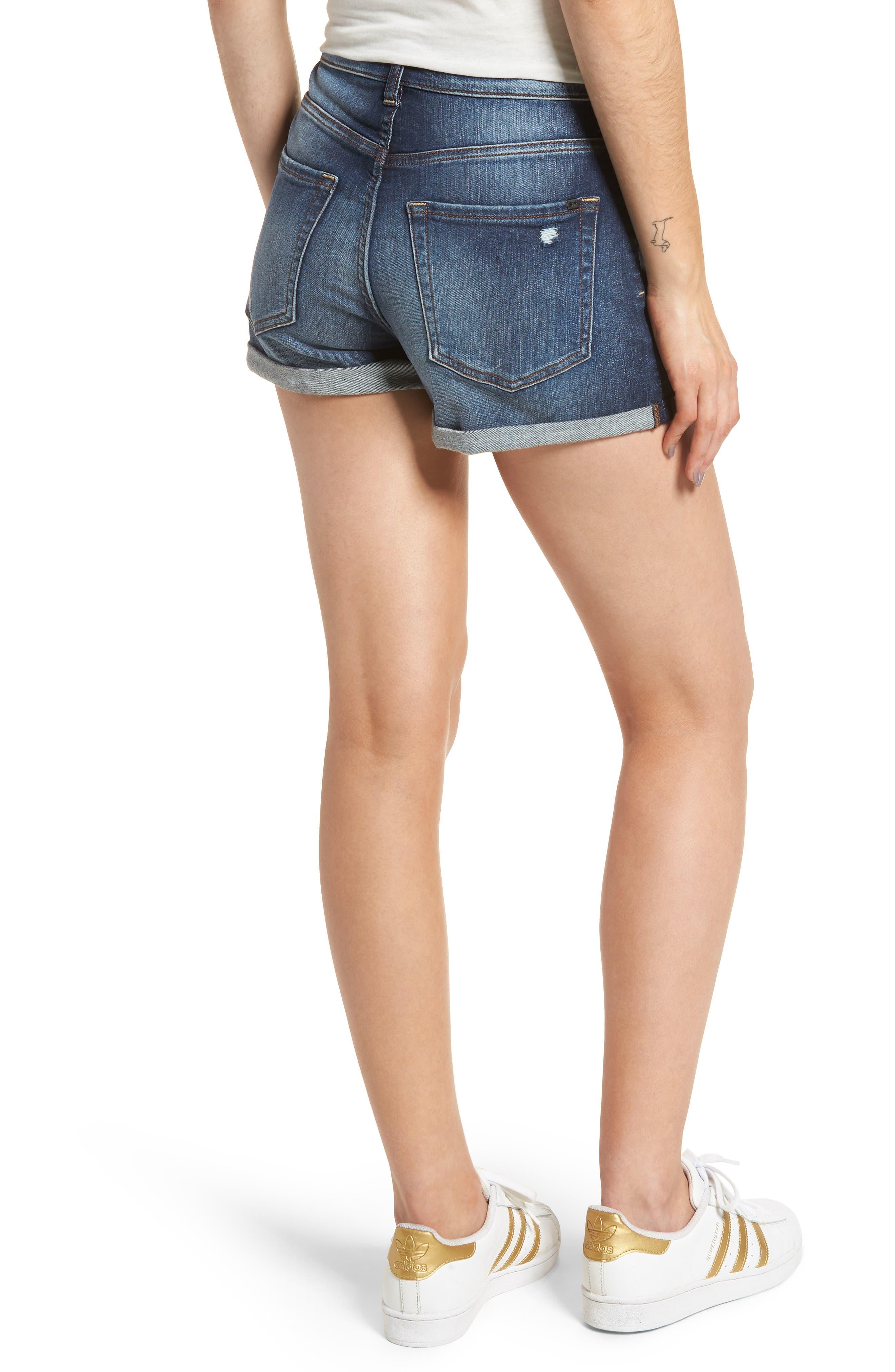 Cuffed High Waist Denim Shorts,                             Alternate thumbnail 2, color,                             401