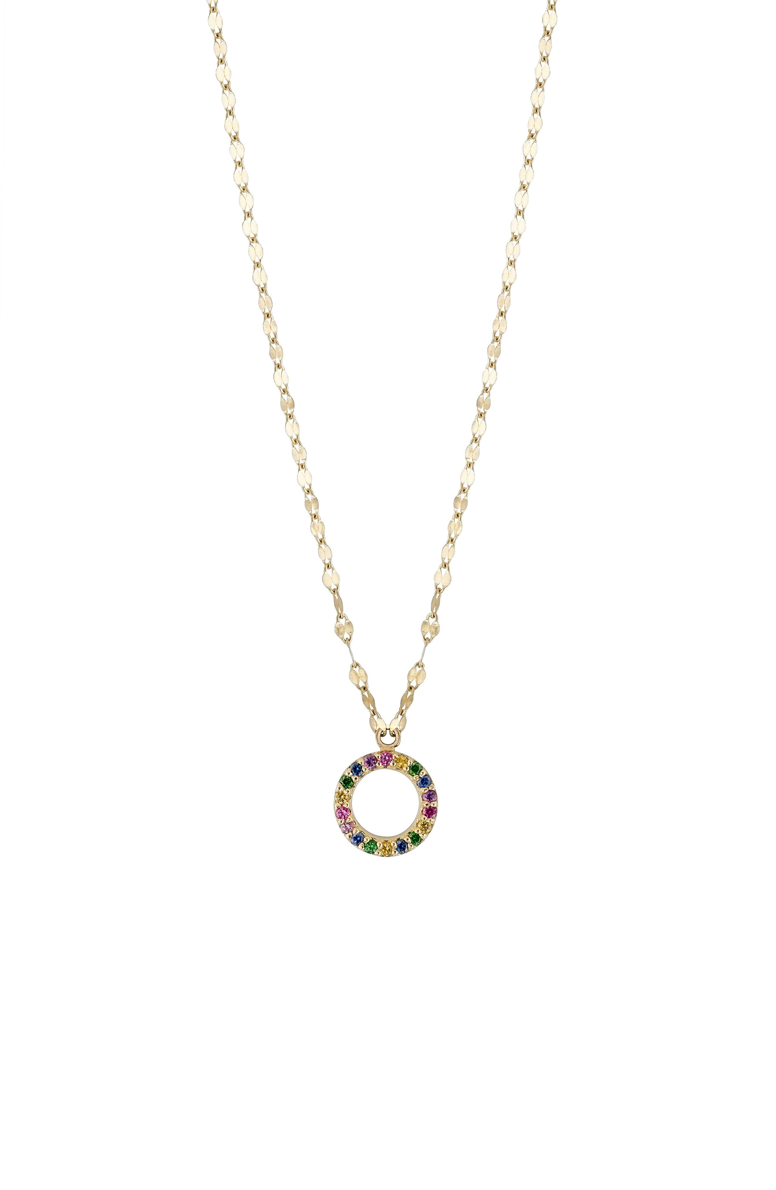 Mini Circle Sapphire Pendant Necklace,                             Alternate thumbnail 3, color,                             710