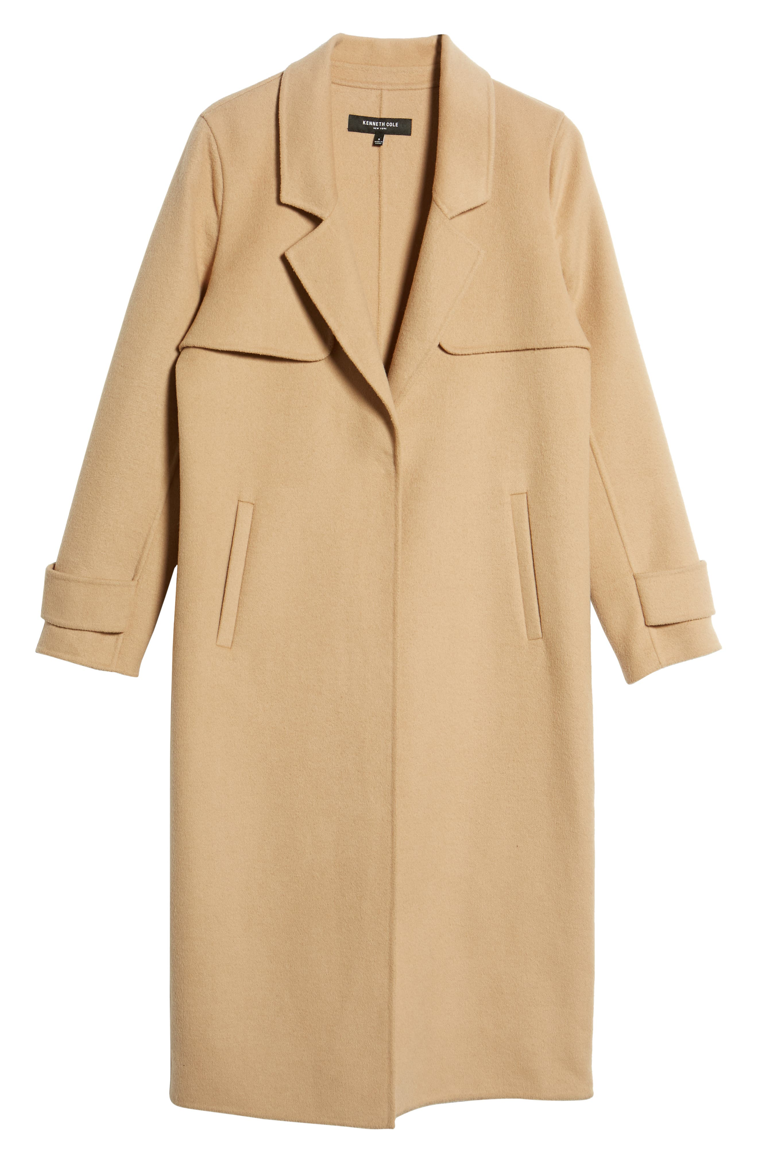 Double Face Wool Blend Long Coat,                             Alternate thumbnail 5, color,                             CAMEL
