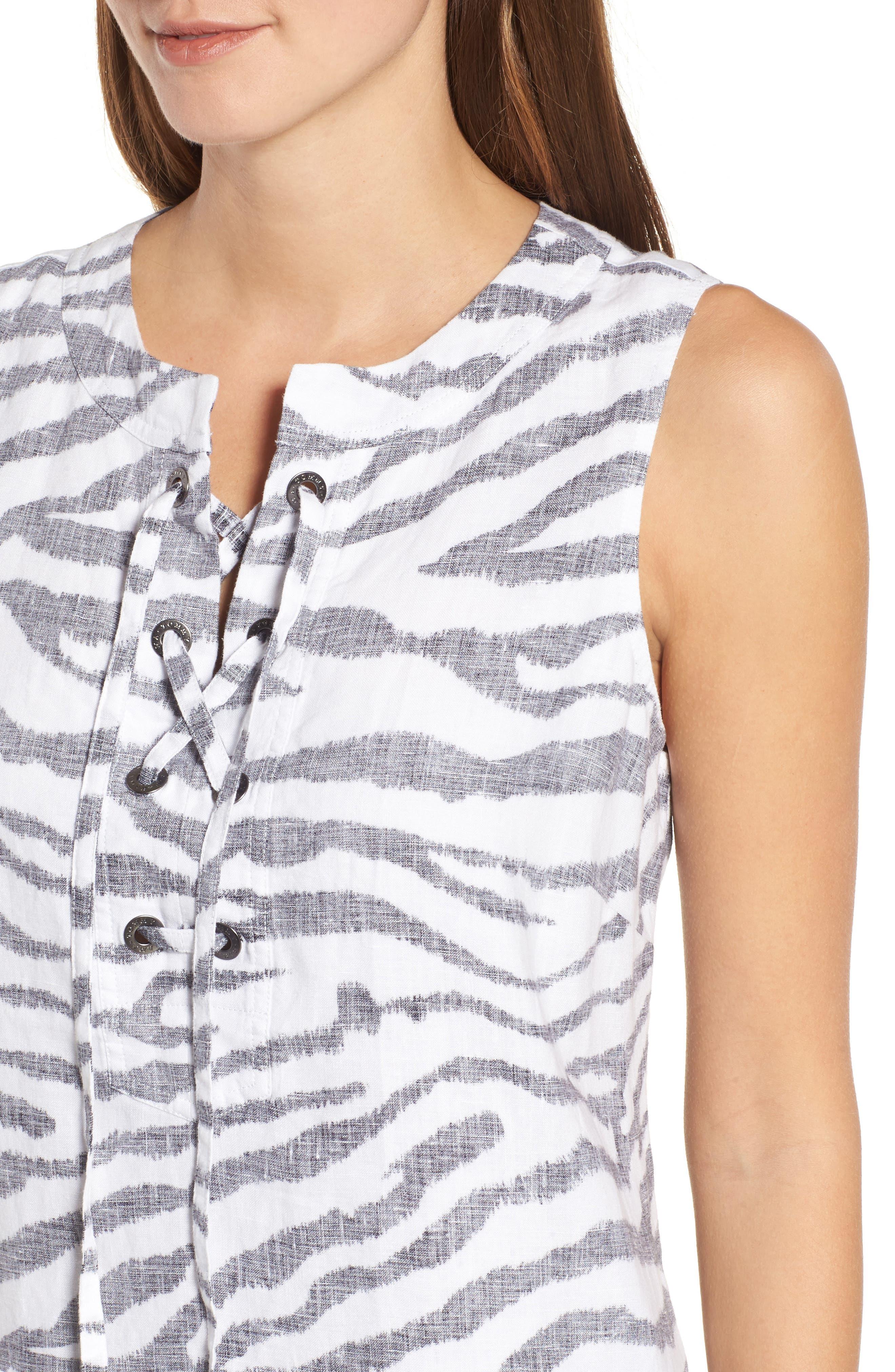 Zebra Taunt Shift Dress,                             Alternate thumbnail 4, color,                             001