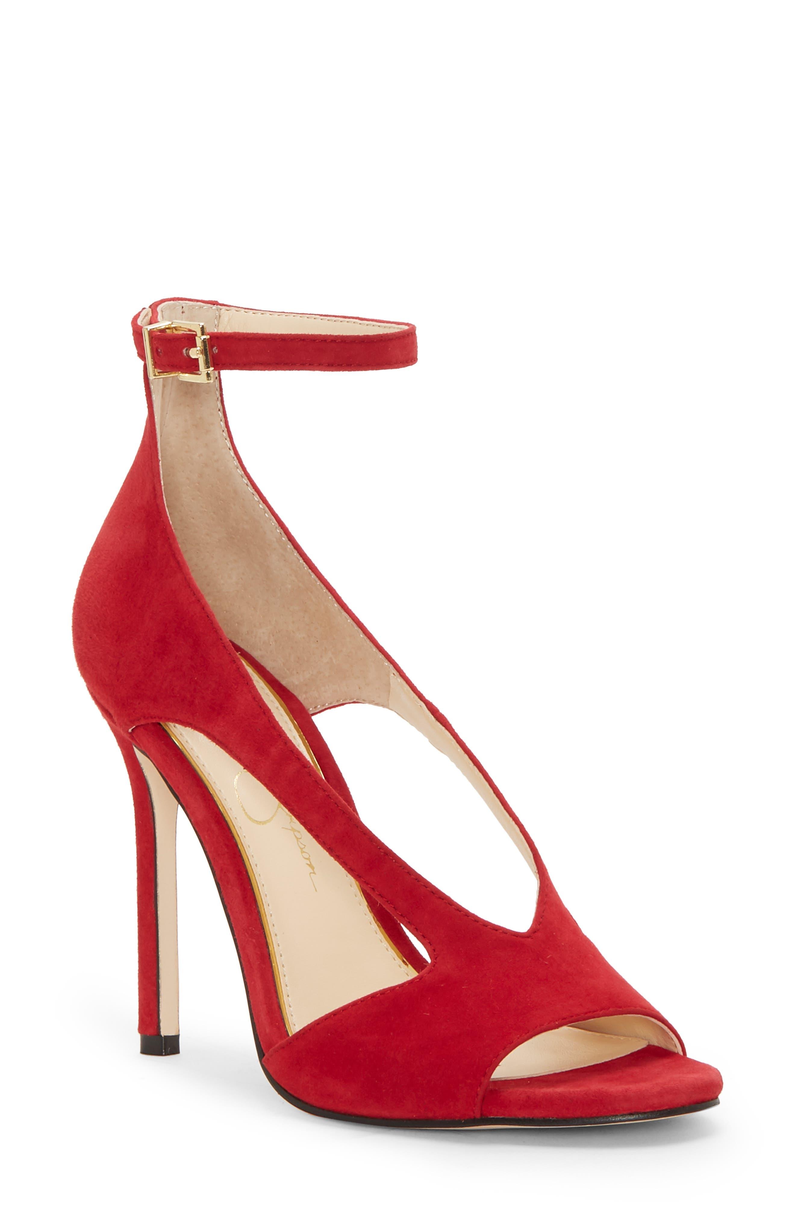 Jessica Simpson Jasta Ankle Strap Sandal, Red