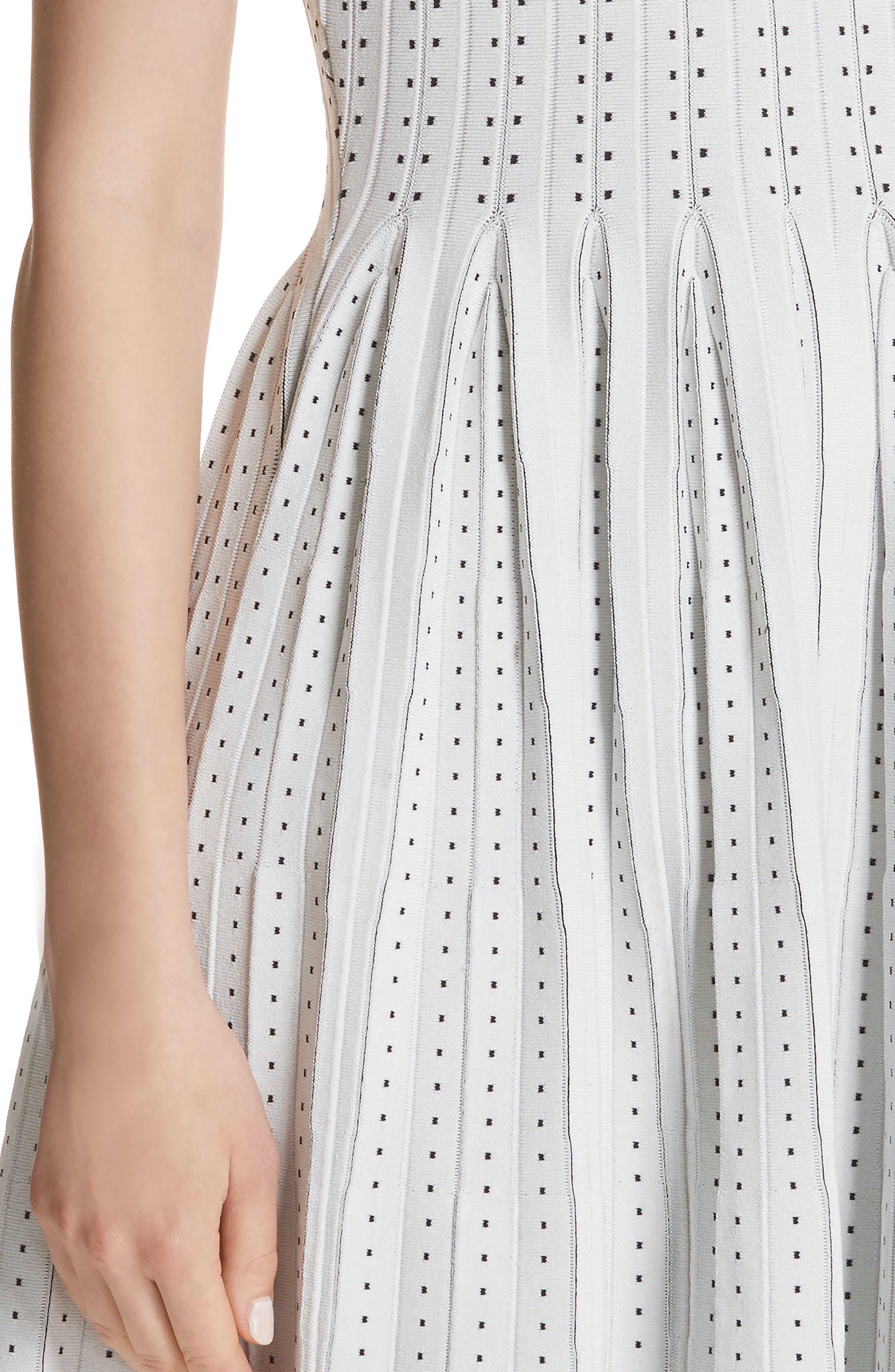 Dot Pleat Fit & Flare Dress,                             Alternate thumbnail 4, color,                             110