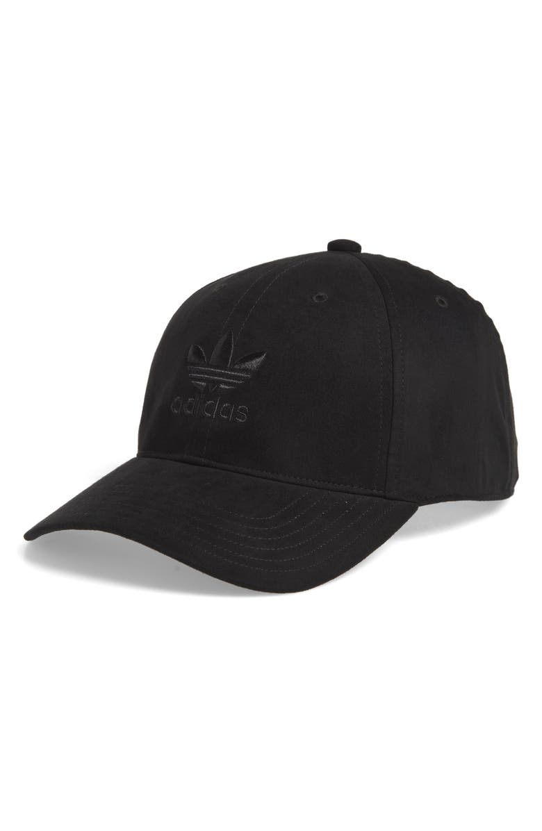 A tonal embroidered logo emerges from the front of a classic six-panel ball cap  fitted with a curved bill. Style Name  Adidas Originals Relaxed Plus Ball  ... e1052178b7b