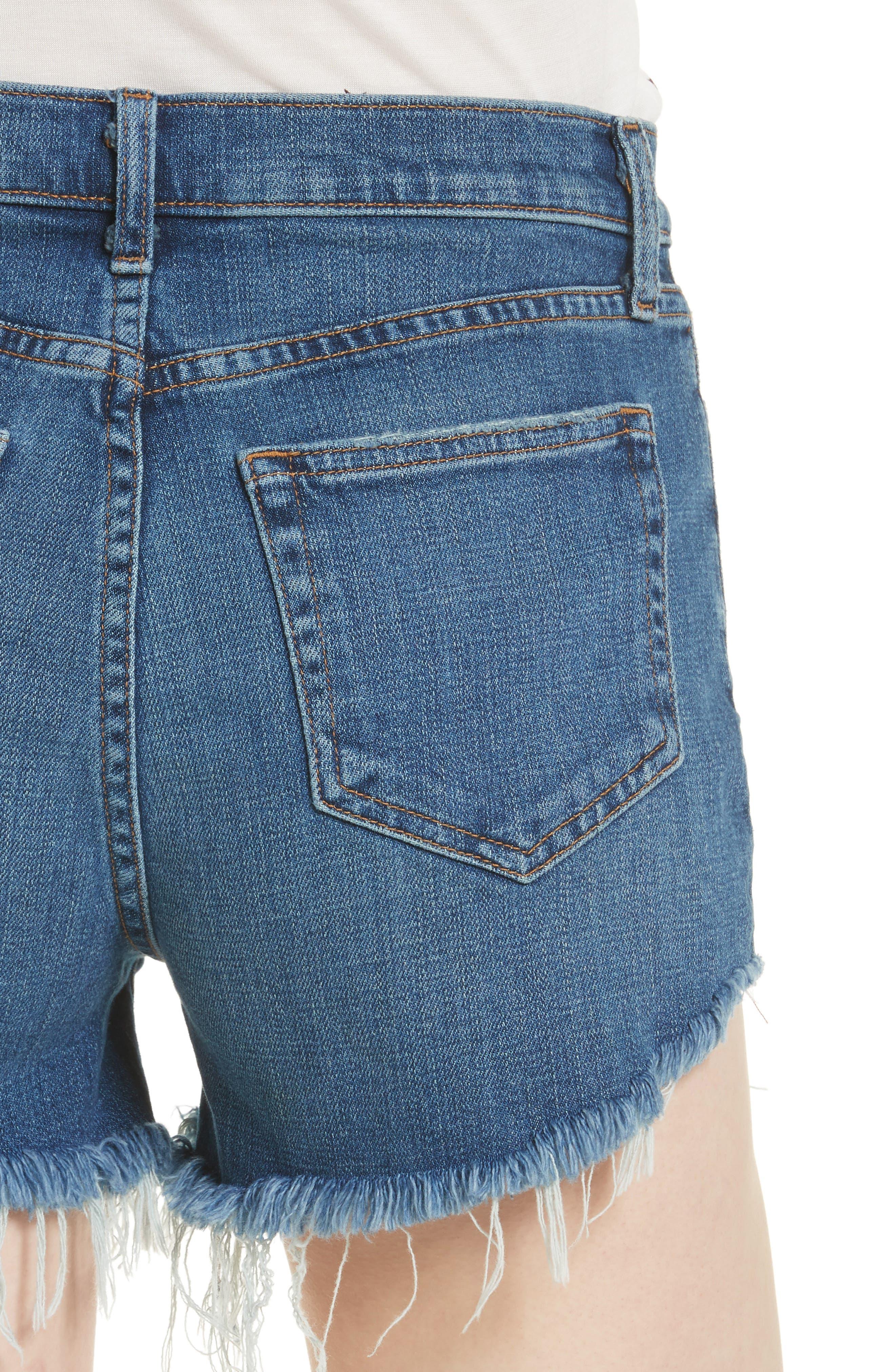 Ryland High Waist Denim Shorts,                             Alternate thumbnail 4, color,                             AUTHENTIQUE
