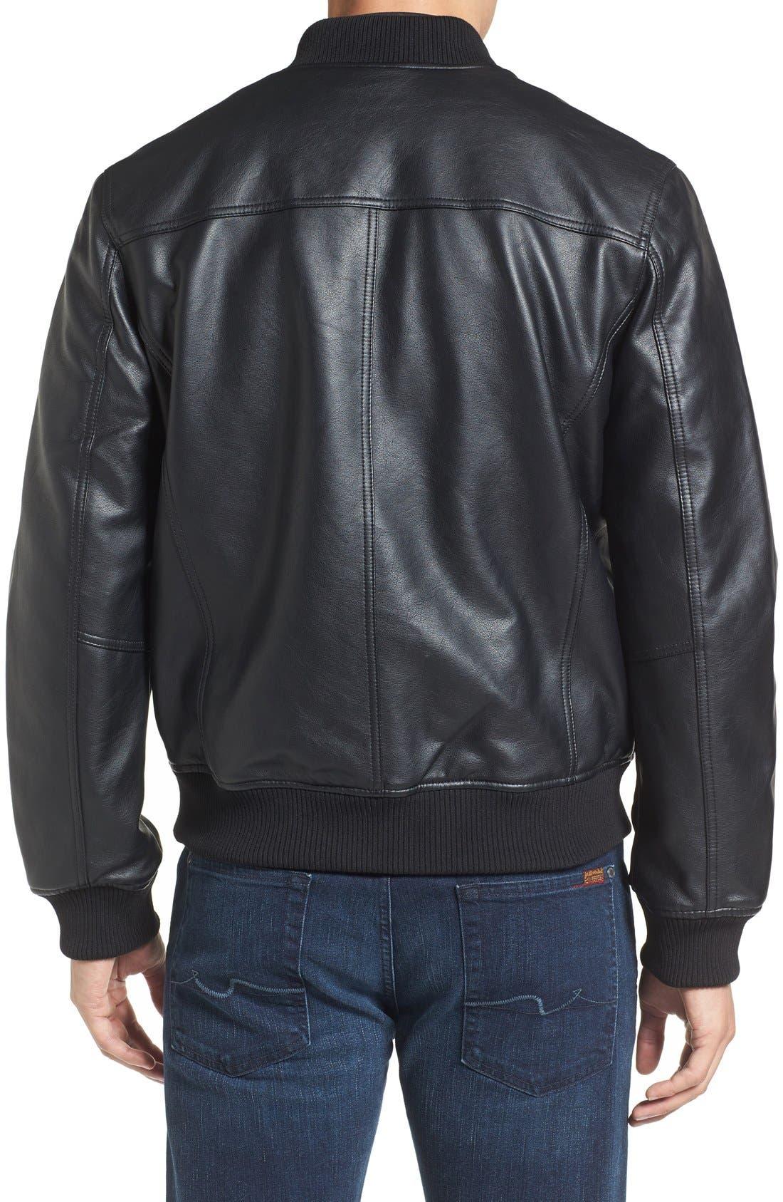 Faux Leather Varsity Jacket,                             Alternate thumbnail 4, color,                             001