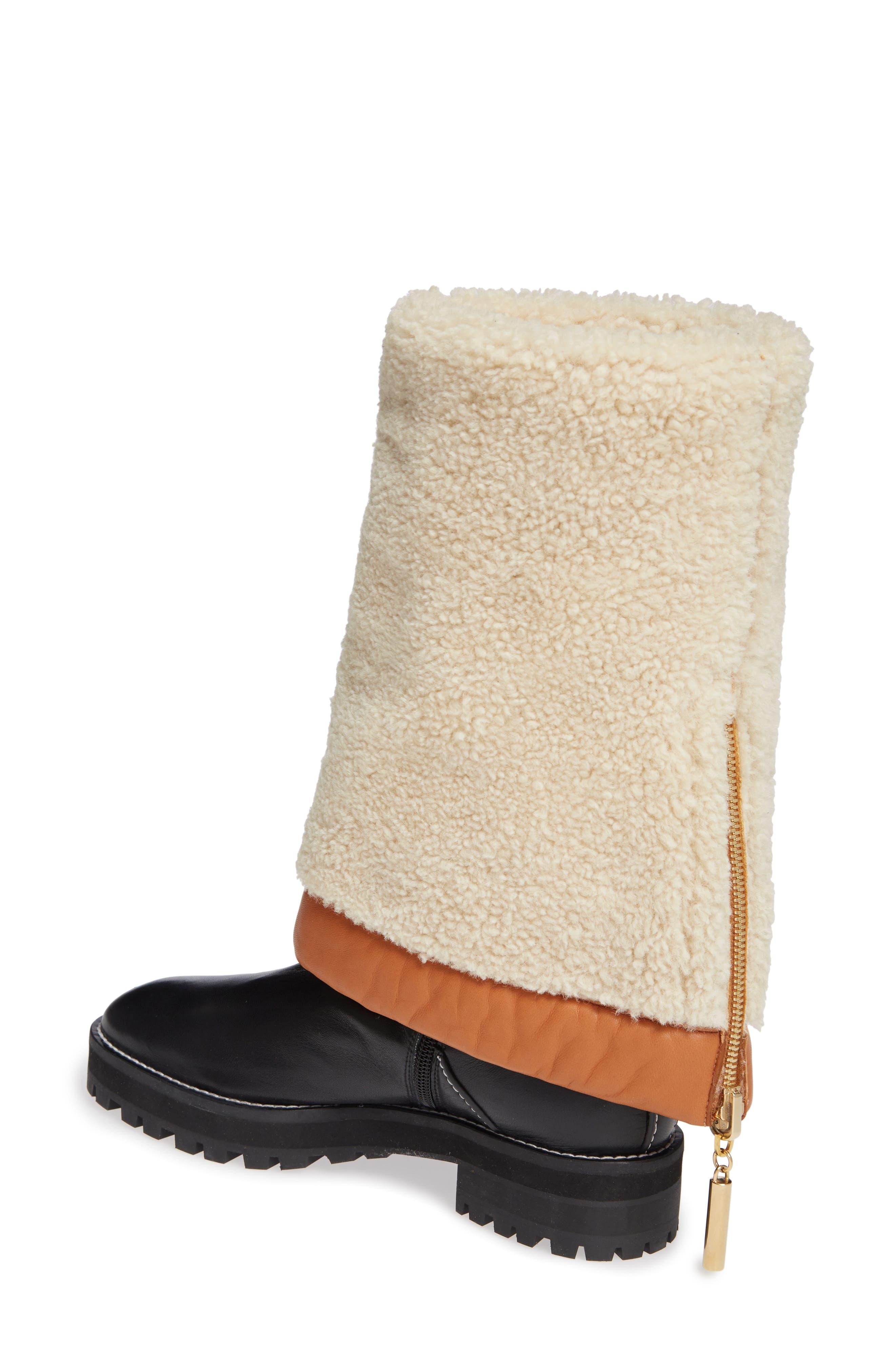Renata Genuine Shearling Boot,                             Alternate thumbnail 3, color,                             BLACK ANDORRA
