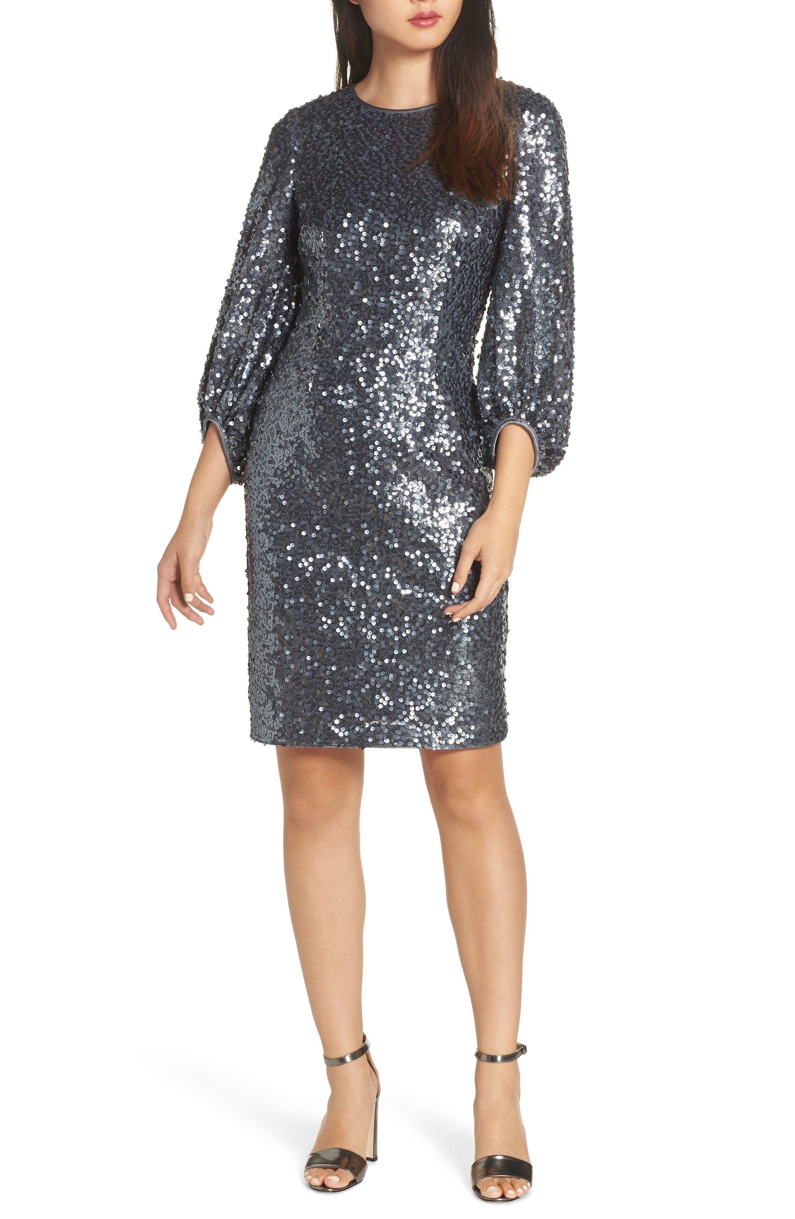 Blouson Sleeve Sequin Sheath Dress,                         Main,                         color, GREY