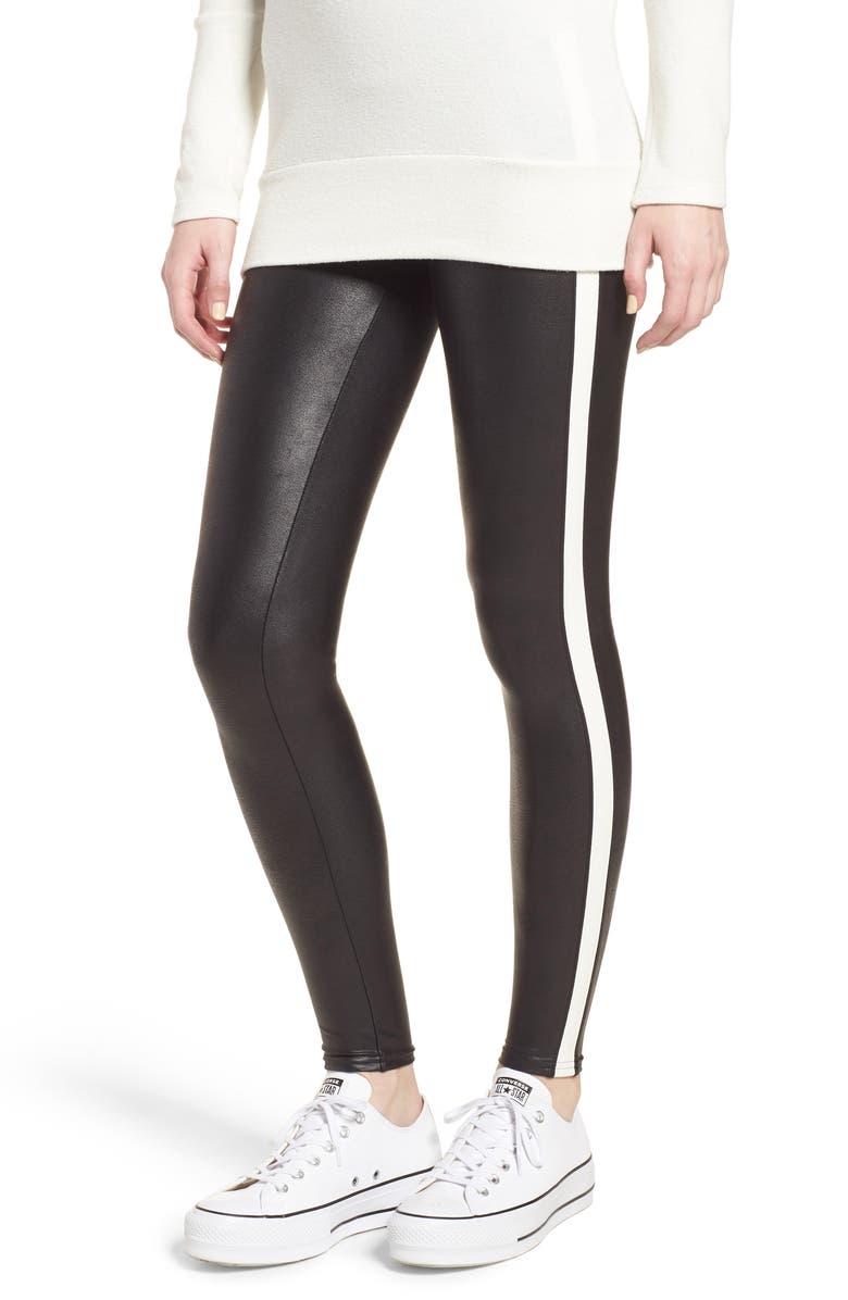 c277d6f7348e45 Faux Leather Side Stripe Leggings Products t Striped