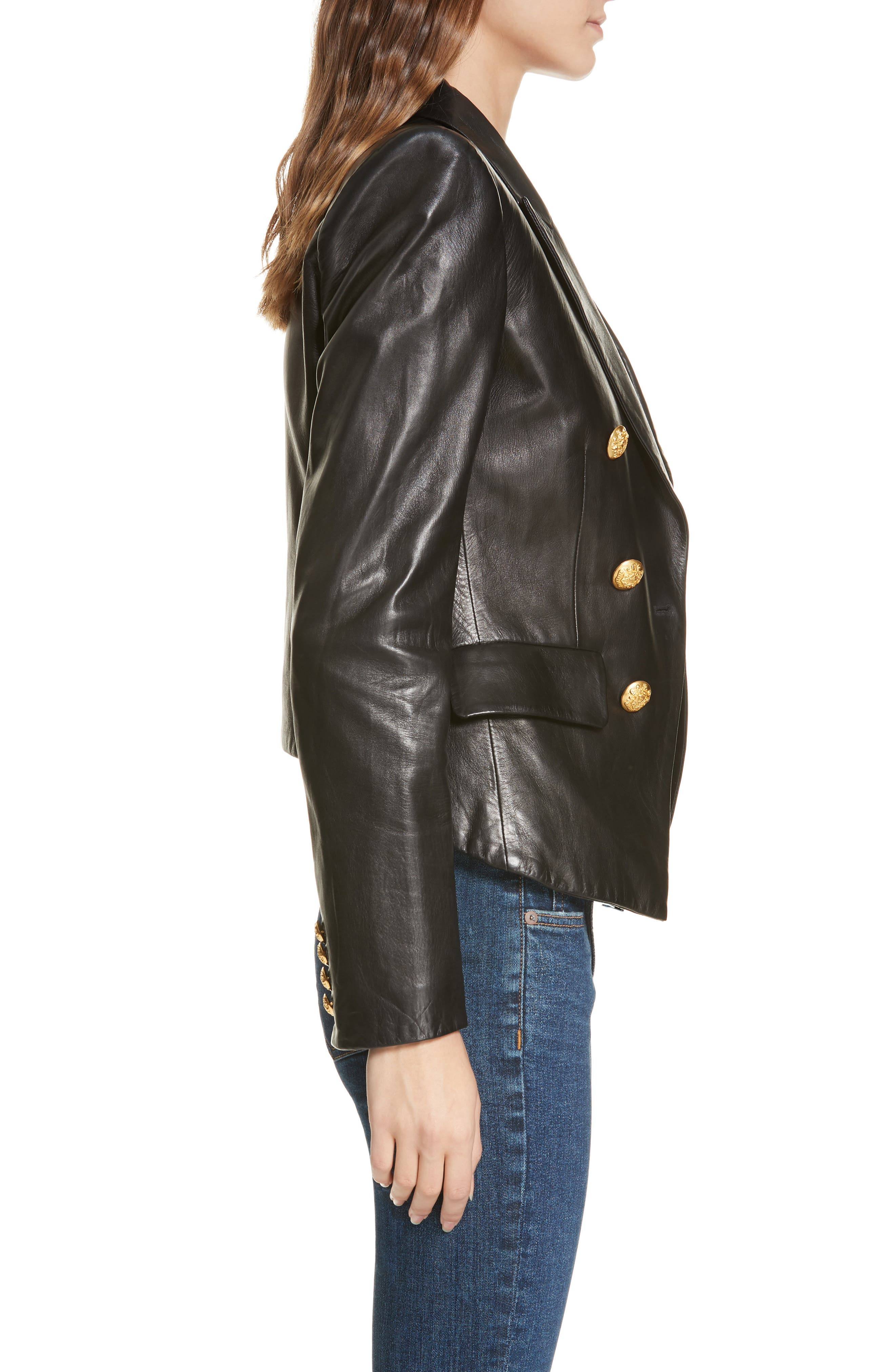 Cooke Leather Dickey Jacket,                             Alternate thumbnail 3, color,                             BLACK