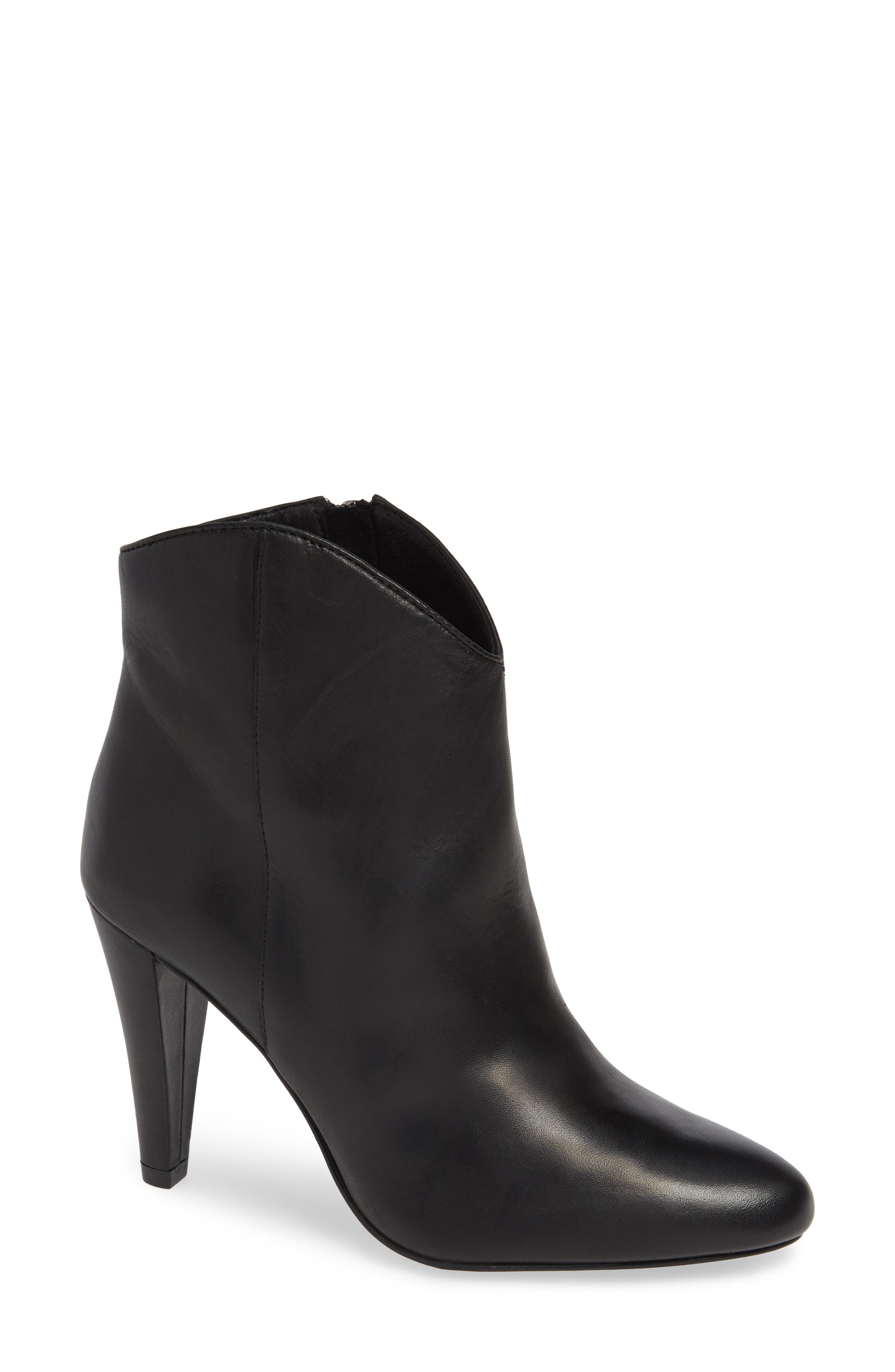 Makayla Bootie,                             Main thumbnail 1, color,                             BLACK LEATHER