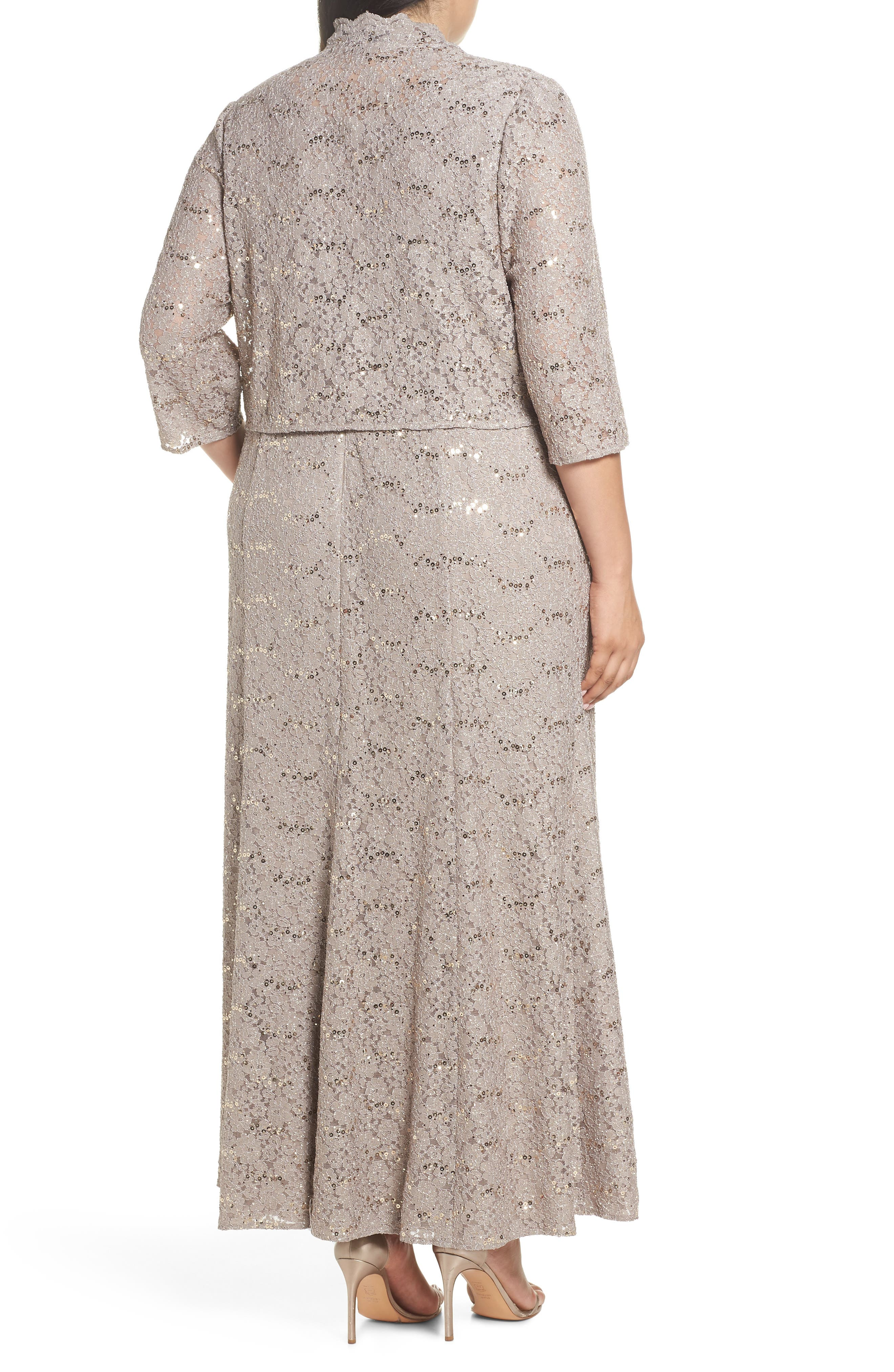 Sequin Lace Gown with Jacket,                             Alternate thumbnail 2, color,                             MINK
