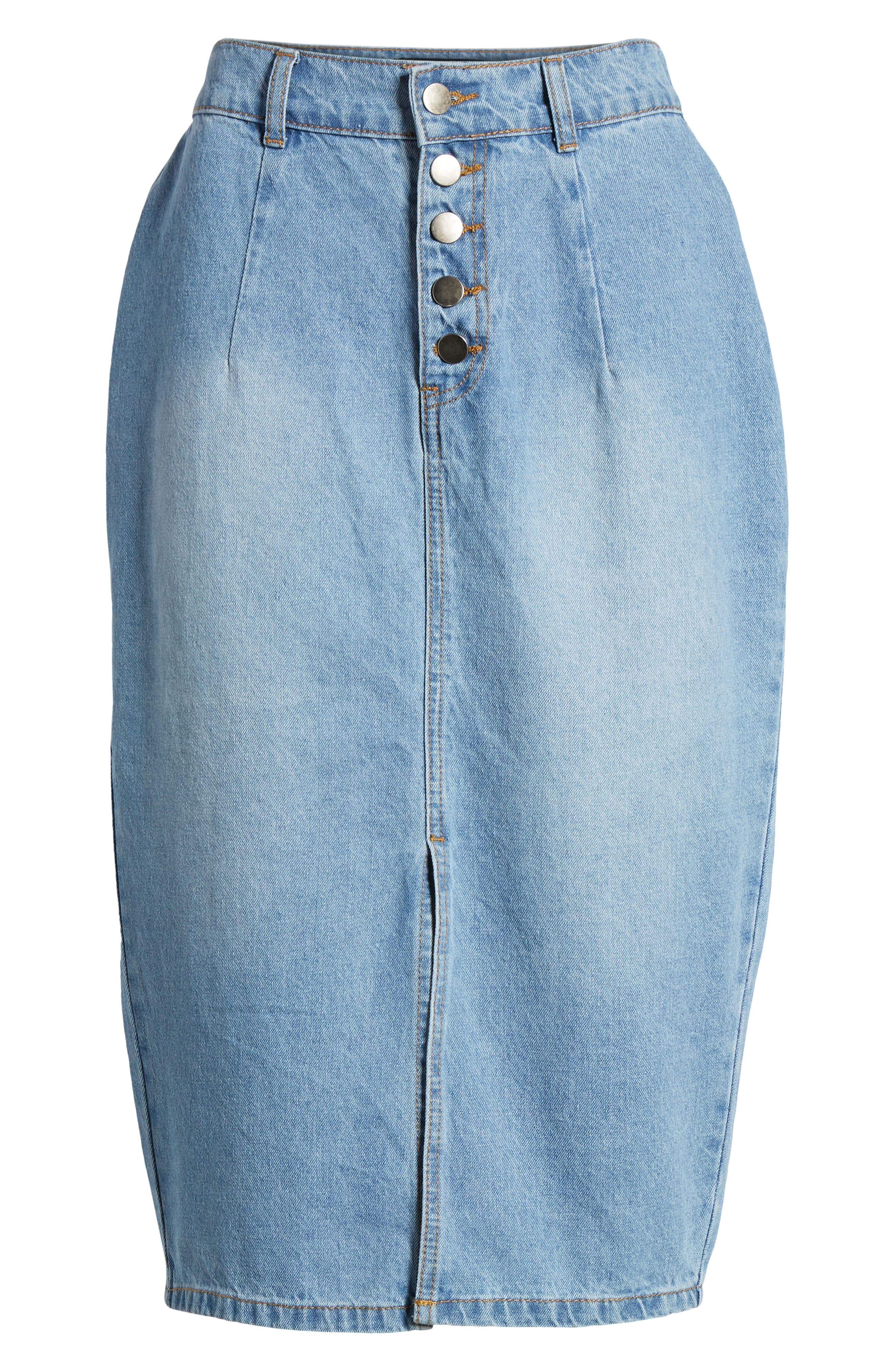 LOST INK,                             Essential Button Front Denim SKirt,                             Alternate thumbnail 7, color,                             400