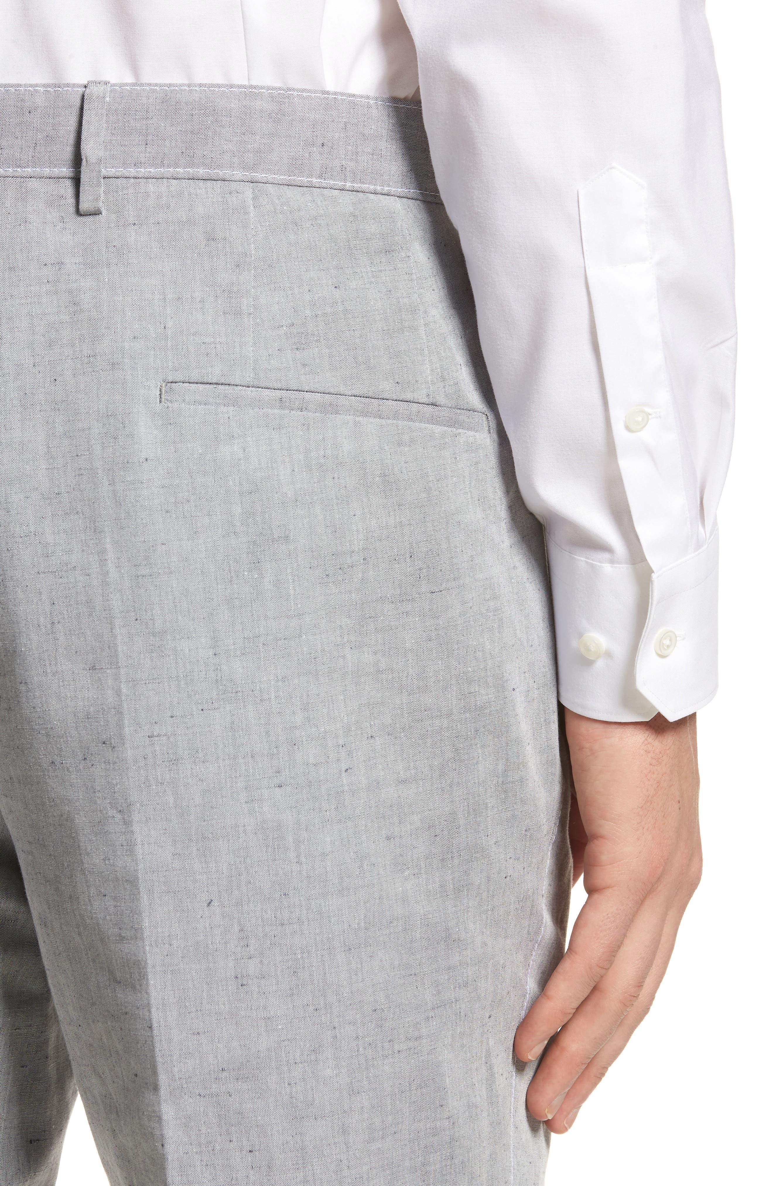 Pirko Flat Front Linen & Cotton Trousers,                             Alternate thumbnail 4, color,                             020