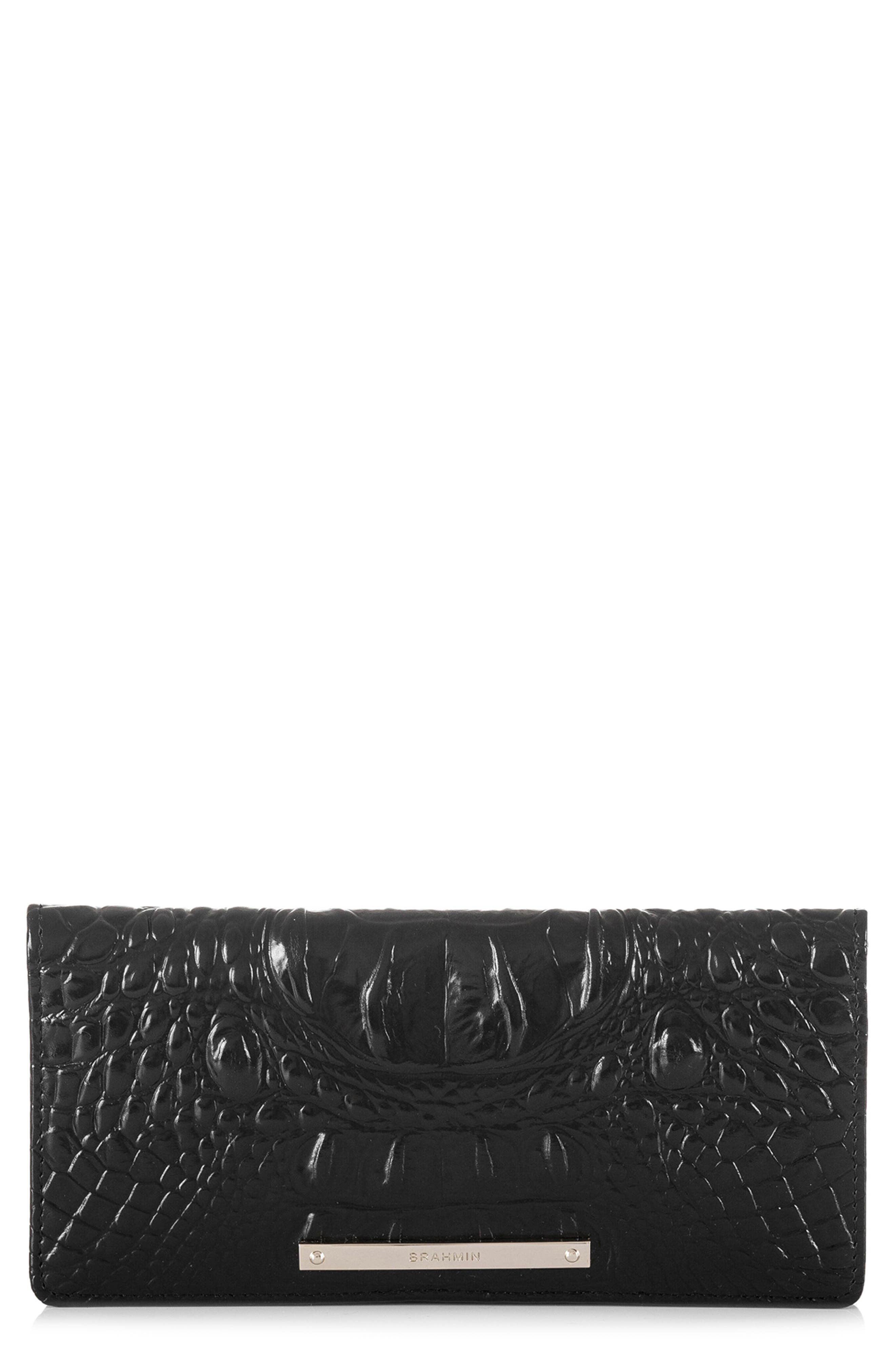 'Ady' Croc Embossed Continental Wallet,                         Main,                         color, BLACK