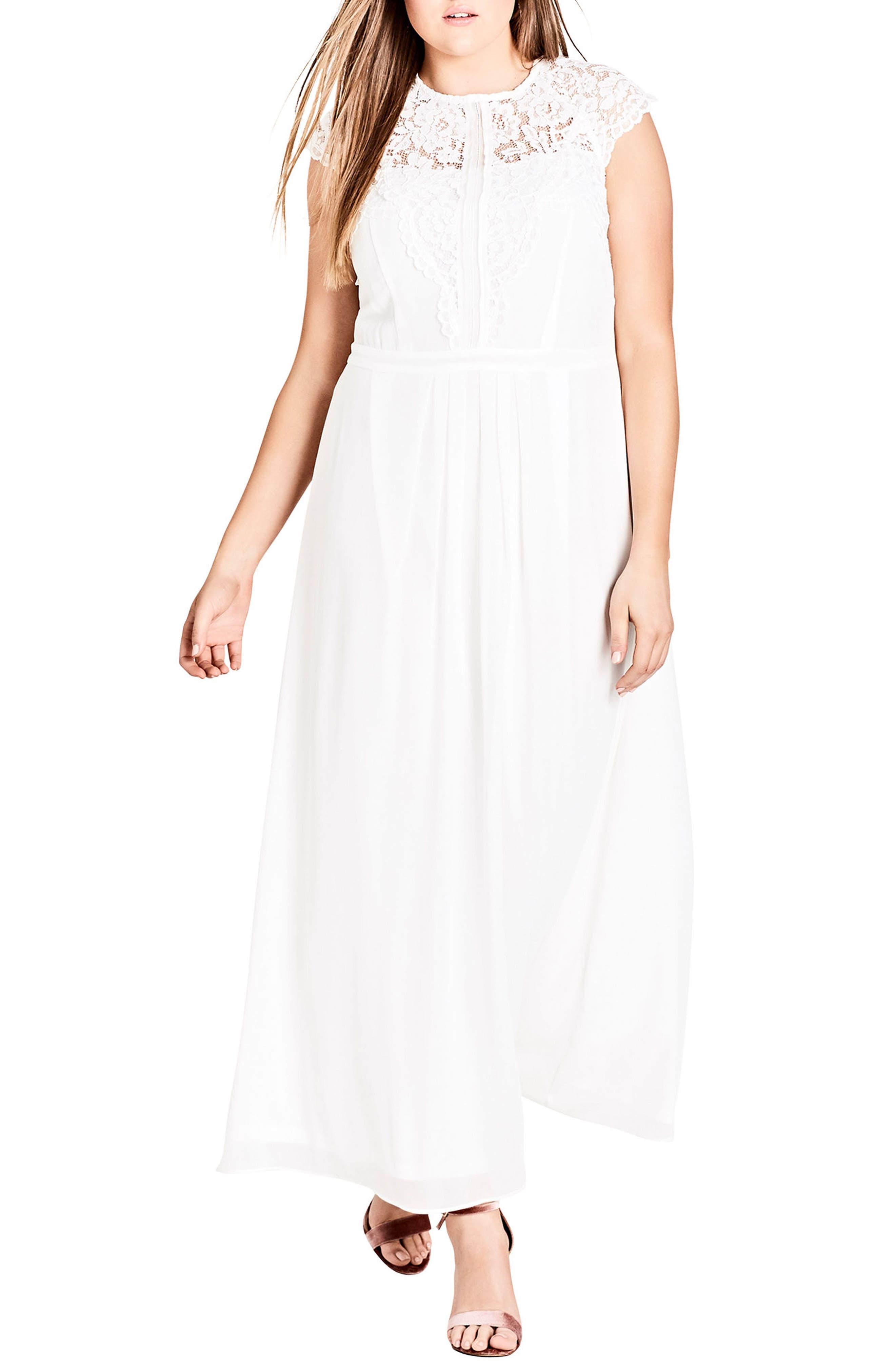 Lace Bodice Maxi Dress,                             Main thumbnail 1, color,                             WHITE