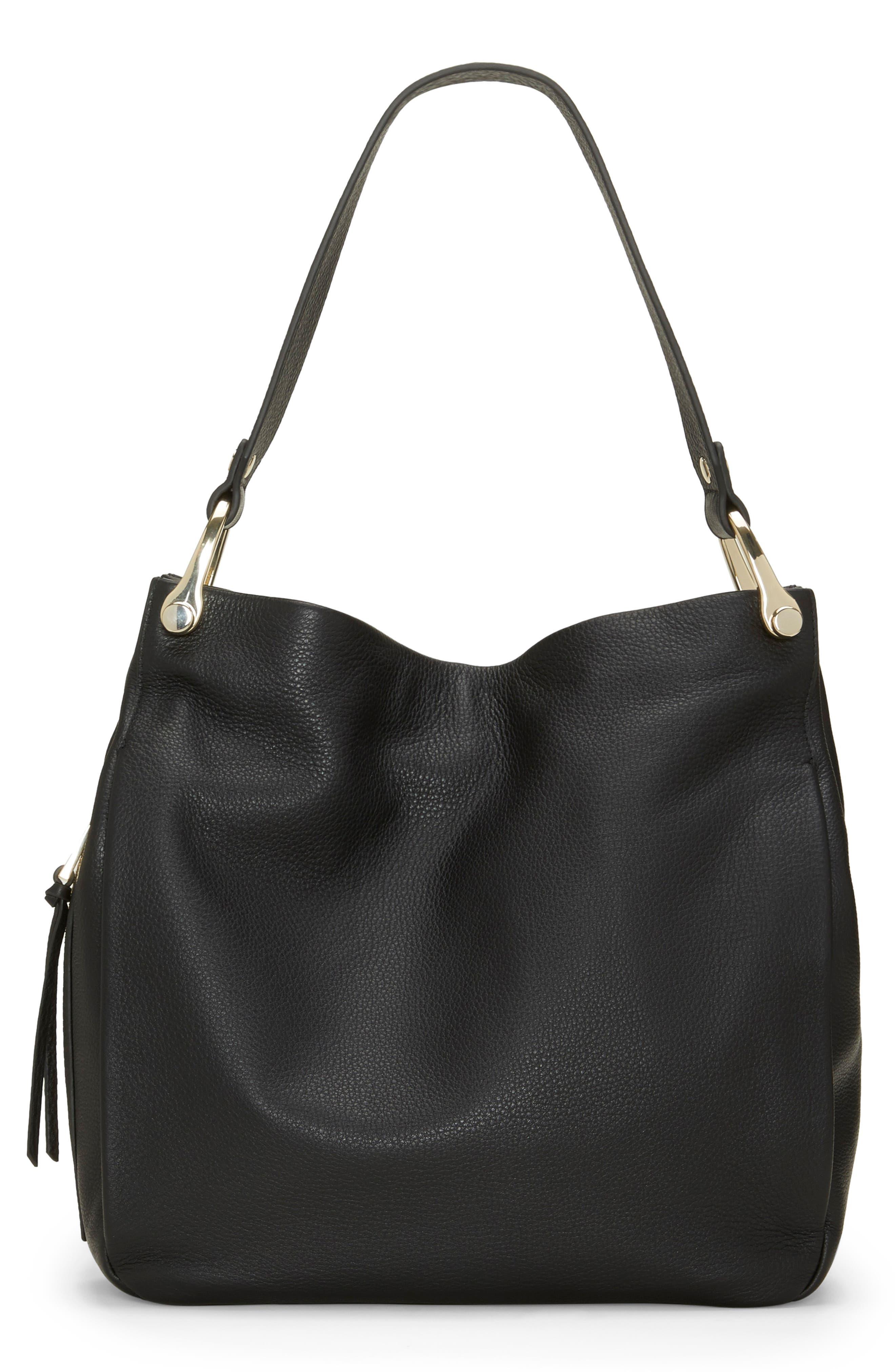 Clem Leather Hobo Bag,                         Main,                         color, BLACK