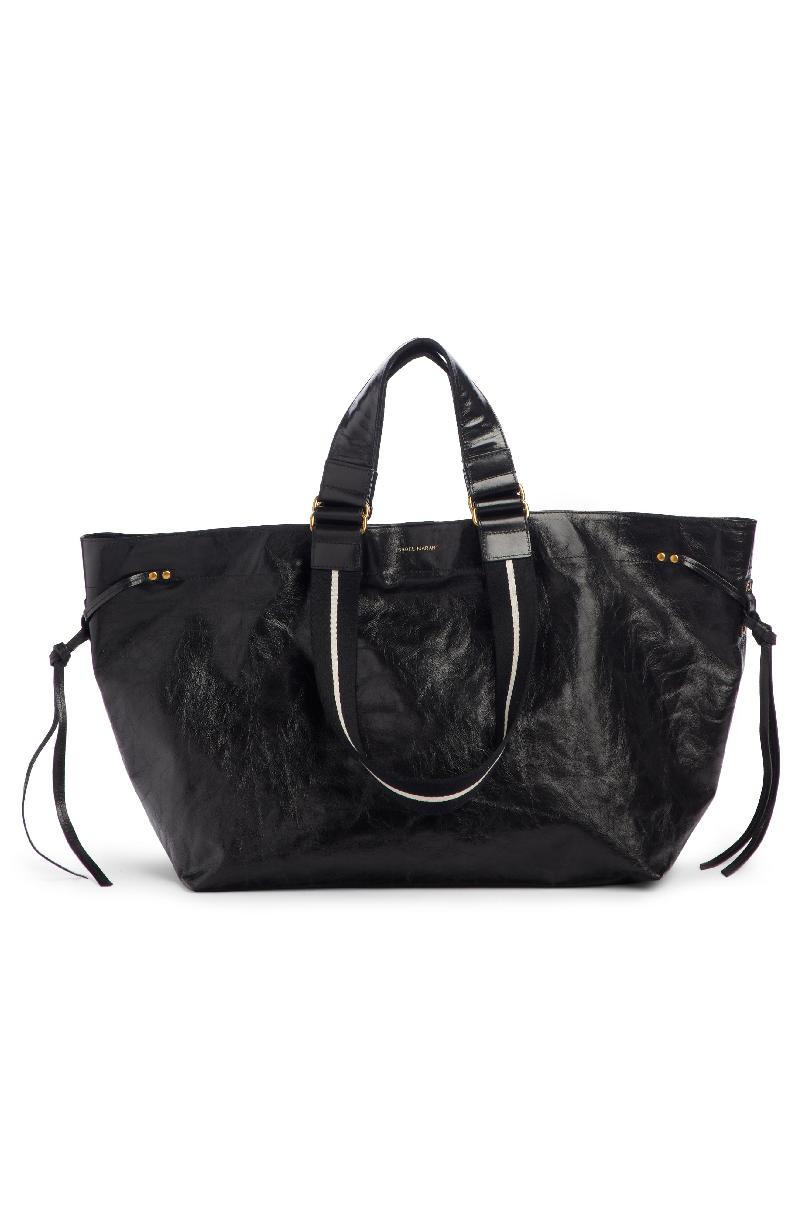 Wardy New Leather Shopper,                             Alternate thumbnail 3, color,                             BLACK