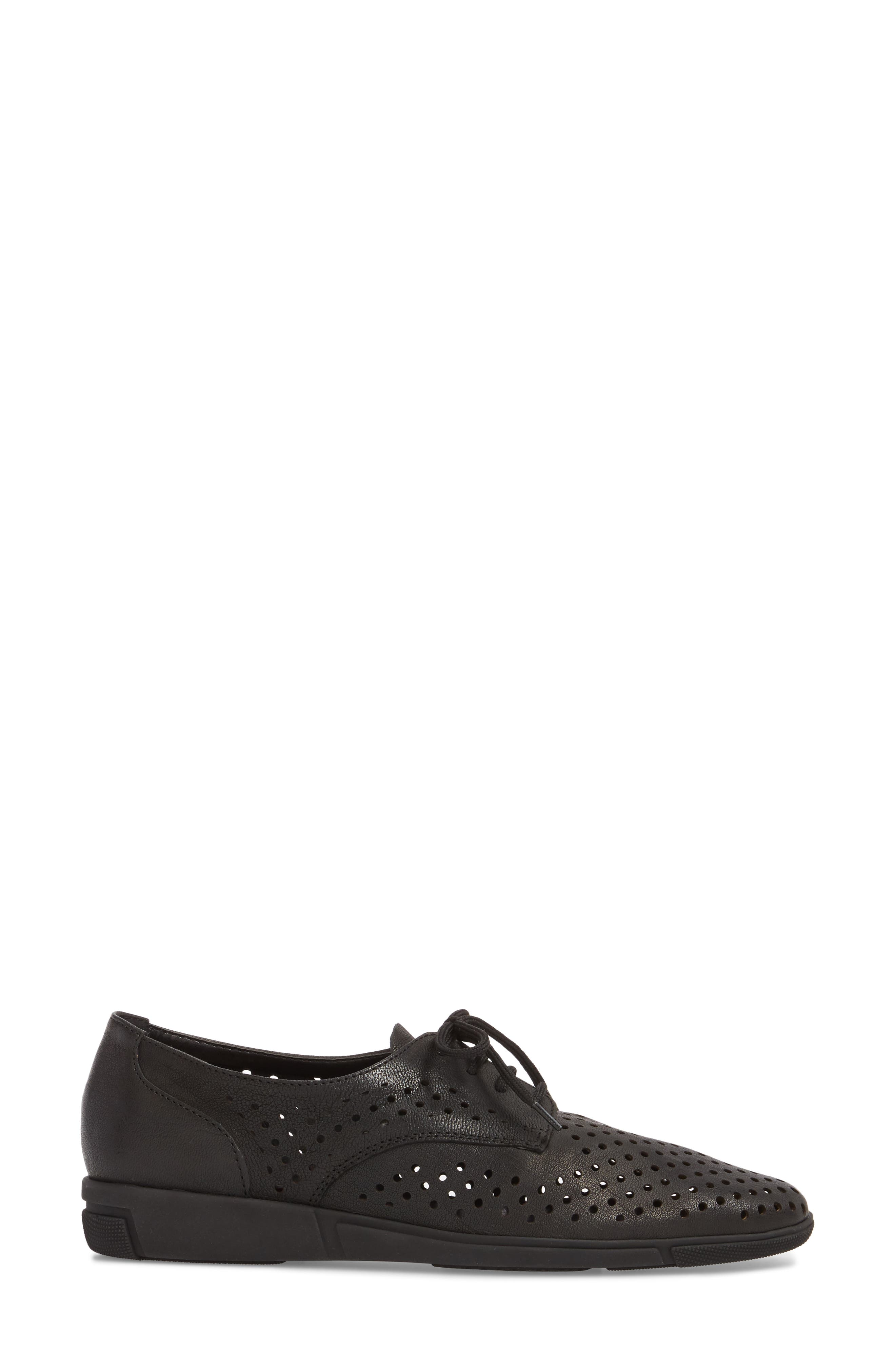 Dirce Perforated Oxford Flat,                             Alternate thumbnail 3, color,                             001