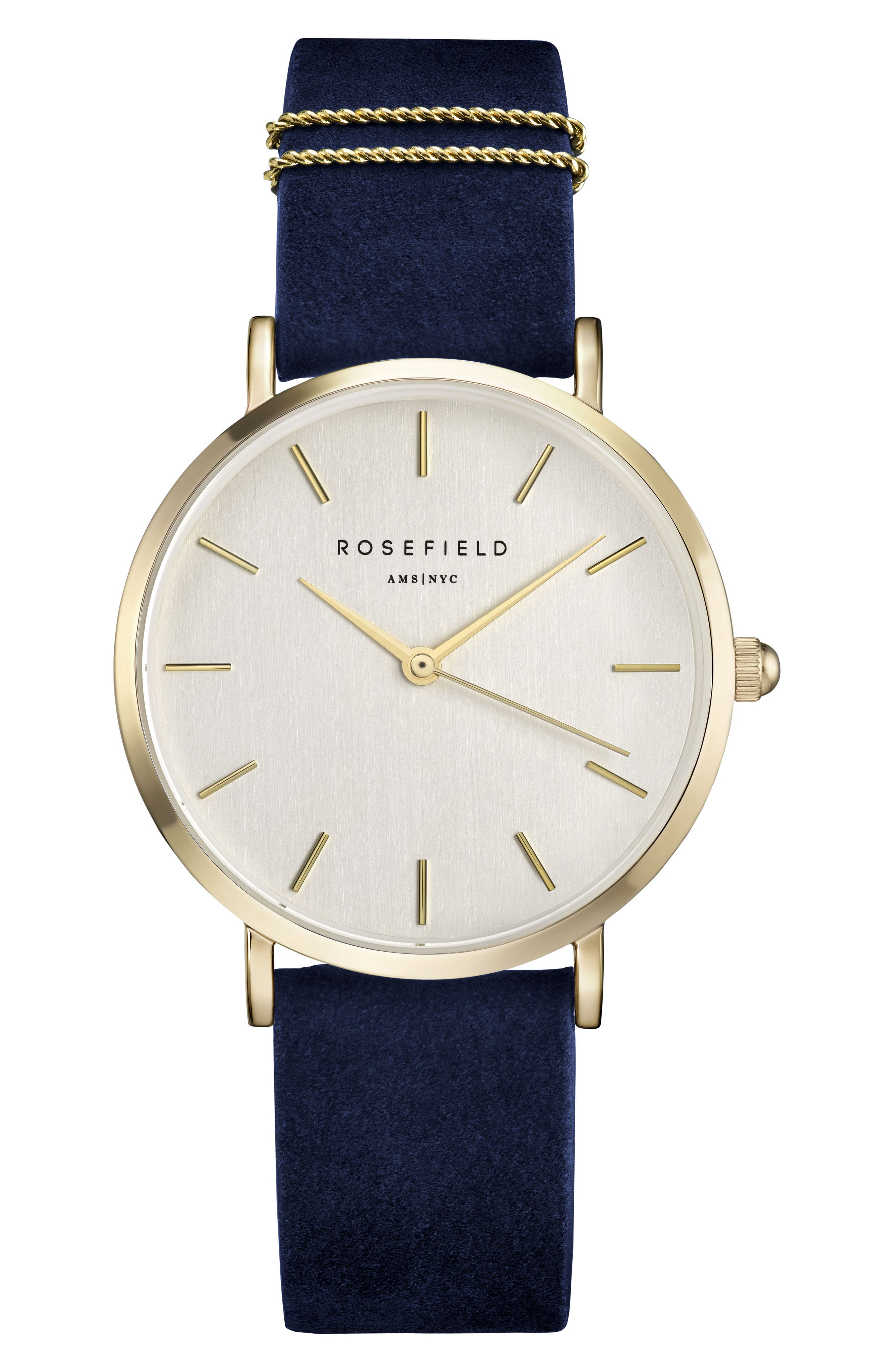 West Village Leather Strap Watch, 33mm,                             Main thumbnail 1, color,                             BLUE/ WHITE/ GOLD