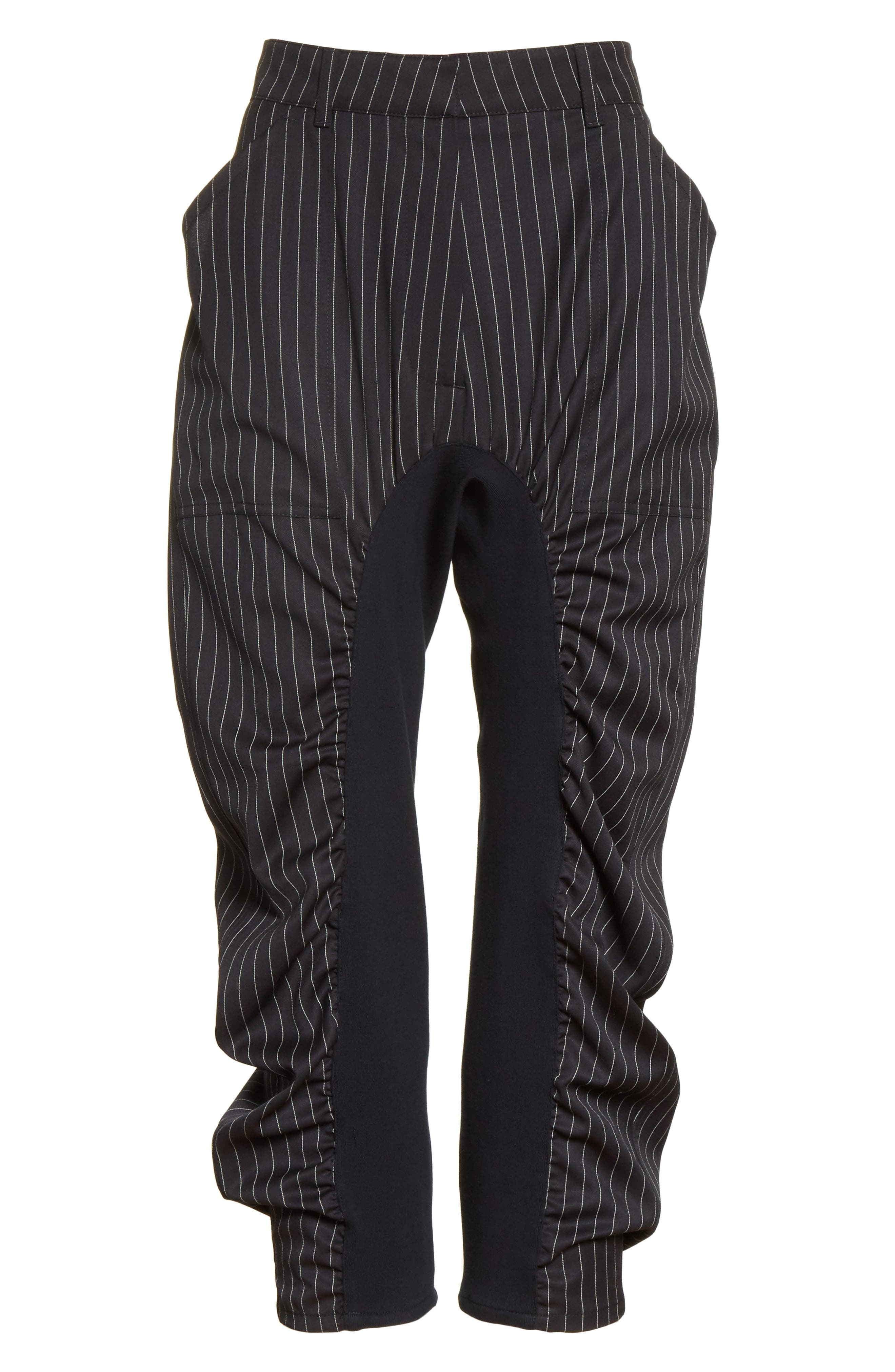 Ruched Pinstripe Trousers,                             Alternate thumbnail 6, color,                             010