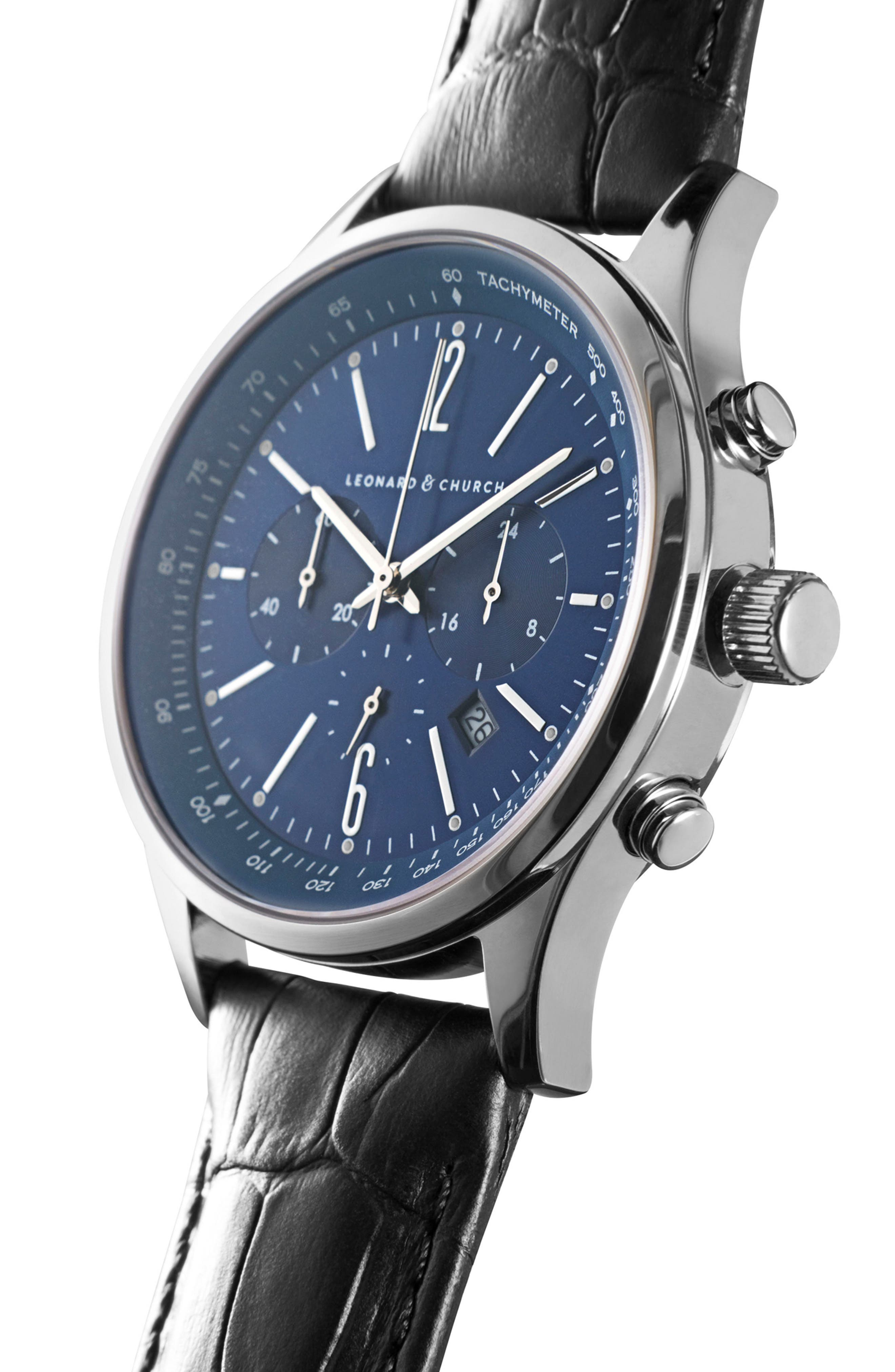 Leonard & Church Barclay Chronograph Leather Strap Watch, 43mm,                             Alternate thumbnail 4, color,                             BLACK/ BLUE/ SILVER