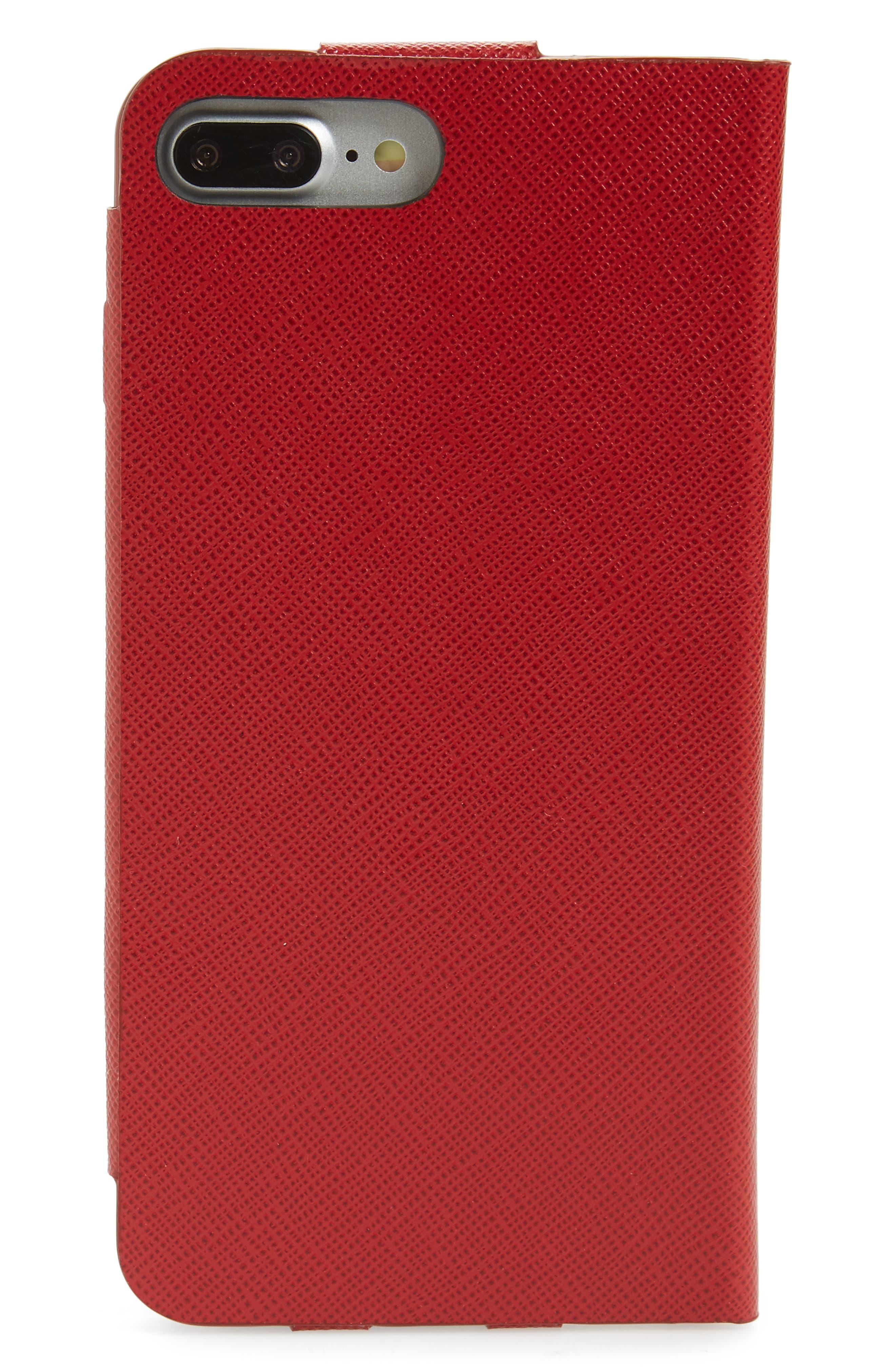 Saffiano Metal Oro Book iPhone 7 Plus Wallet,                             Alternate thumbnail 3, color,                             FUOCO