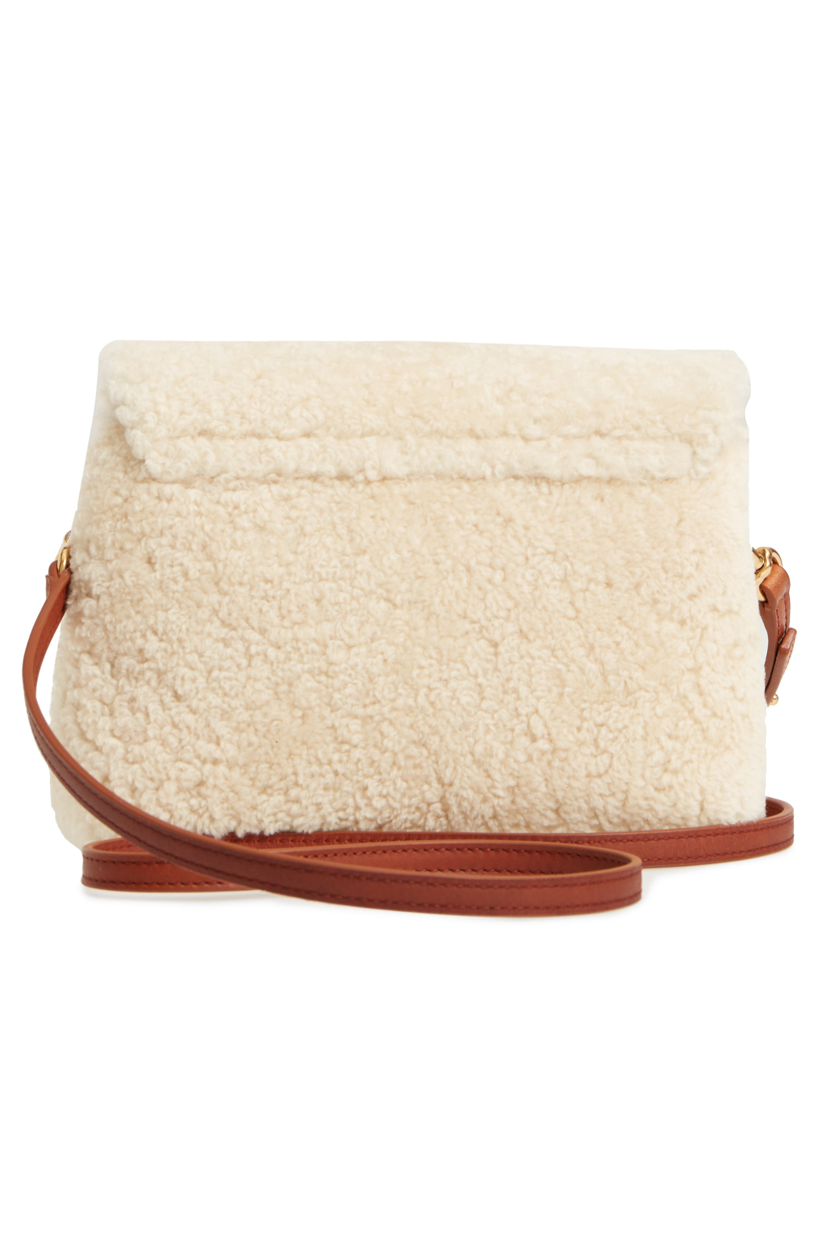 Small Loulou Genuine Shearling Crossbody Bag,                             Alternate thumbnail 3, color,                             NATURALE/ DEEP CUOIO