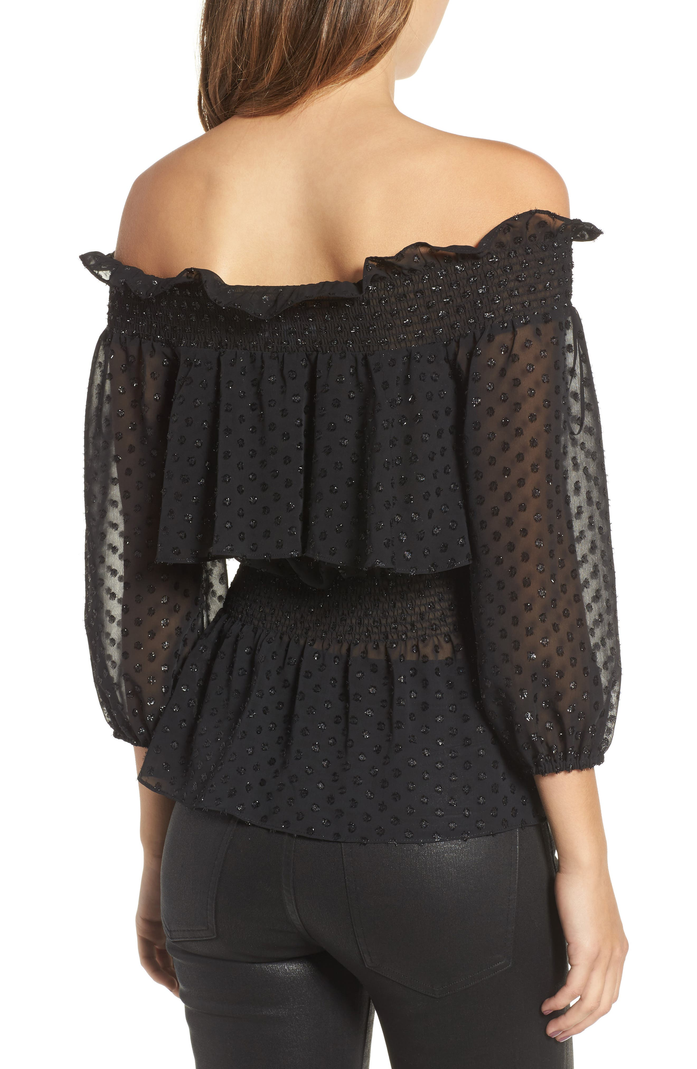 Roland Off the Shoulder Lace Blouse,                             Alternate thumbnail 2, color,                             001