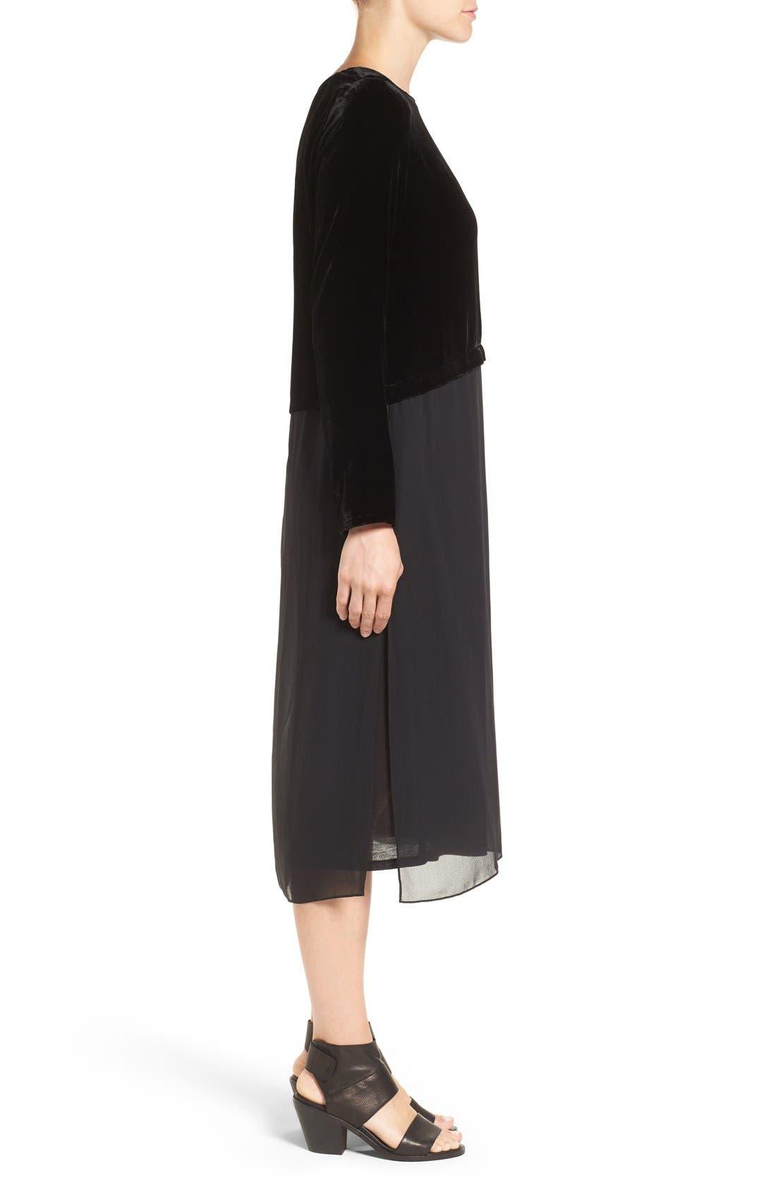 Velvet & Silk Midi Length Shift Dress,                             Alternate thumbnail 3, color,                             001