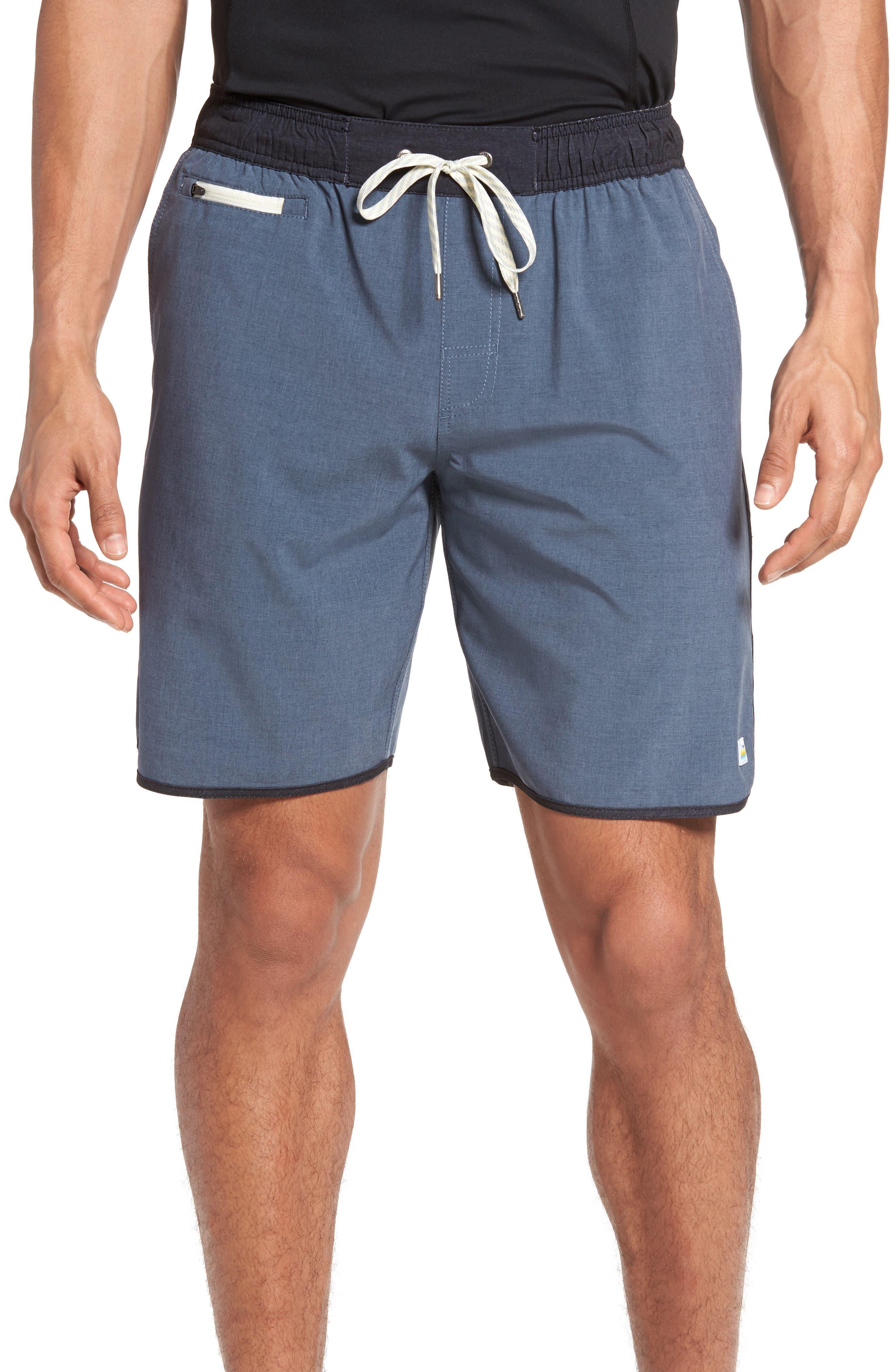 Banks Performance Hybrid Shorts,                         Main,                         color, AZURE LINEN TEXTURE