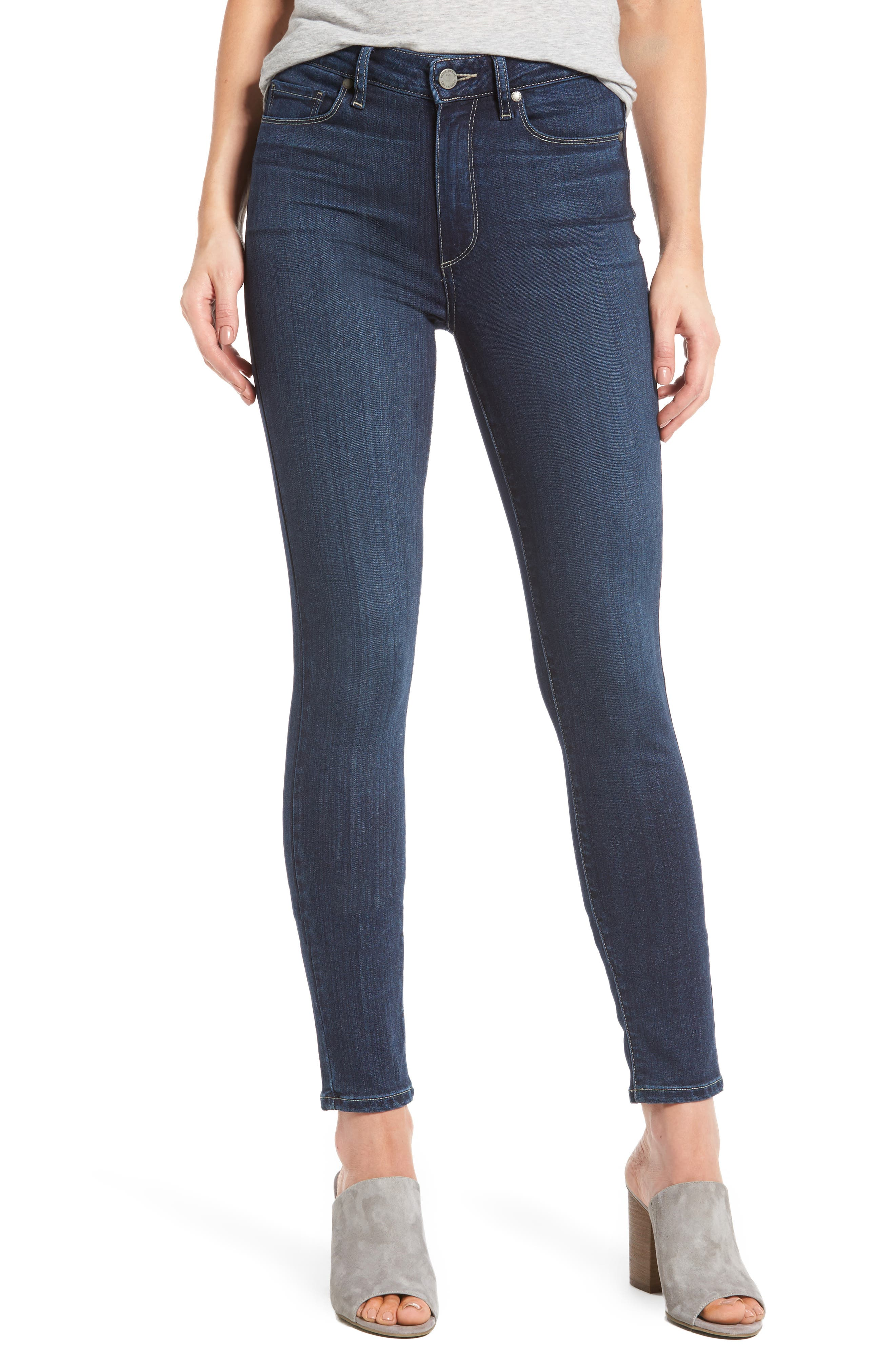 Transcend - Hoxton High Waist Ankle Skinny Jeans,                             Main thumbnail 1, color,                             400